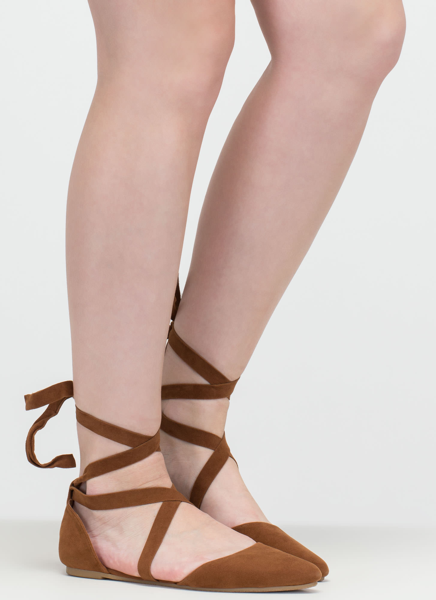 Heartbeat Sound Pointy Lace-Up Flats CHESTNUT