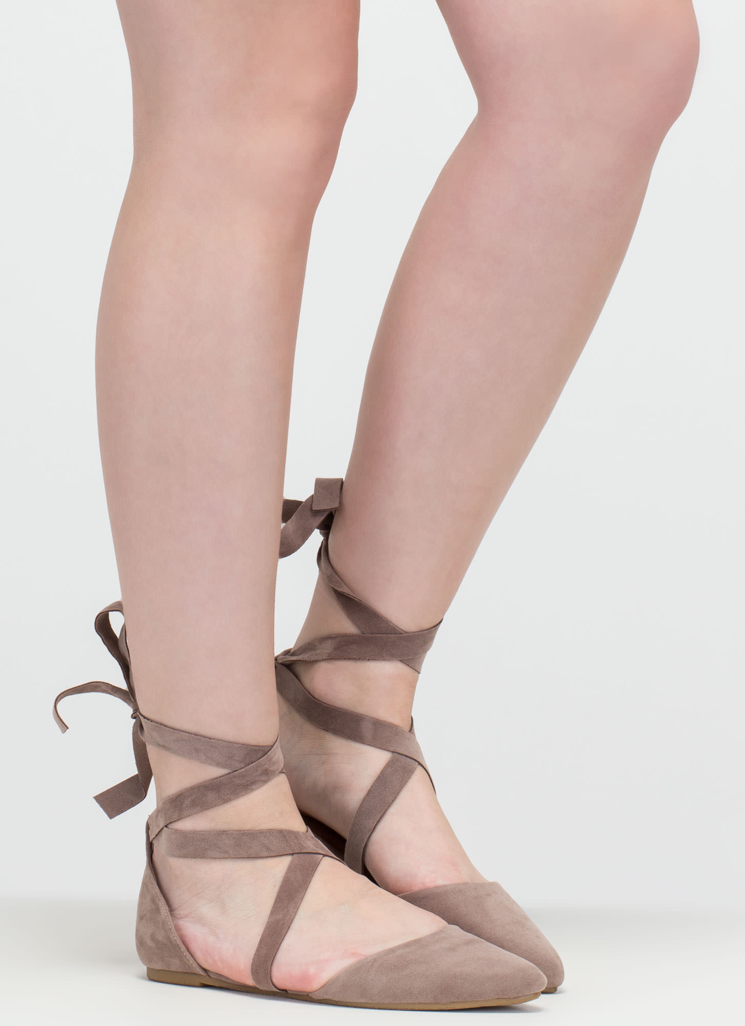 Heartbeat Sound Pointy Lace-Up Flats TAUPE