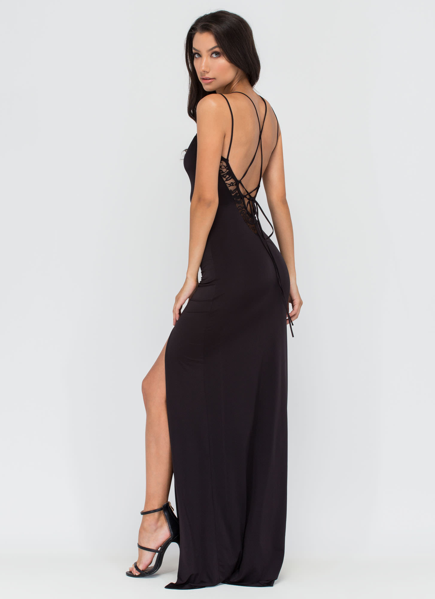 Lace To Lace-Up Maxi Dress BLACK