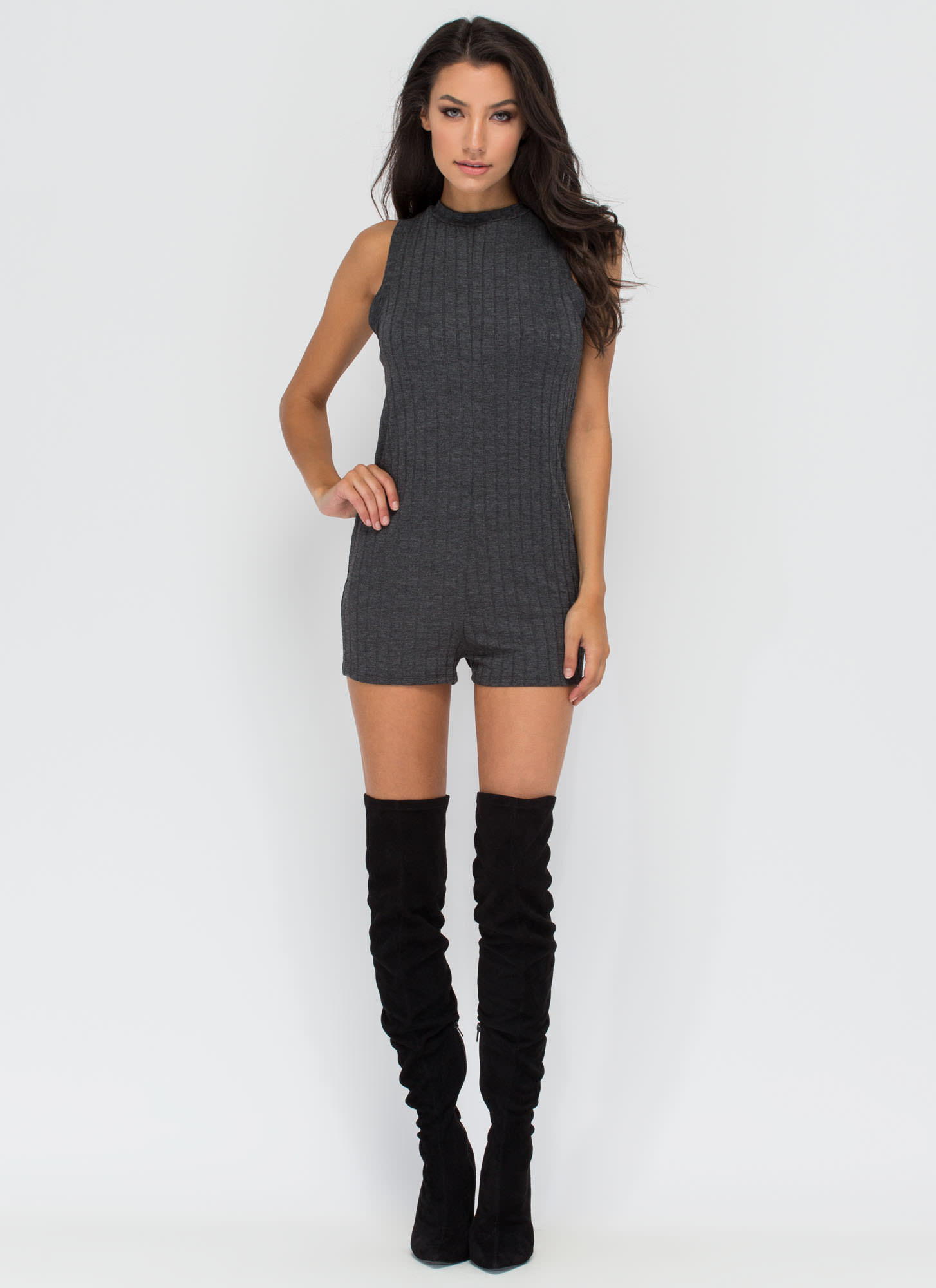 Every Single Day Rib Knit Romper CHARCOAL