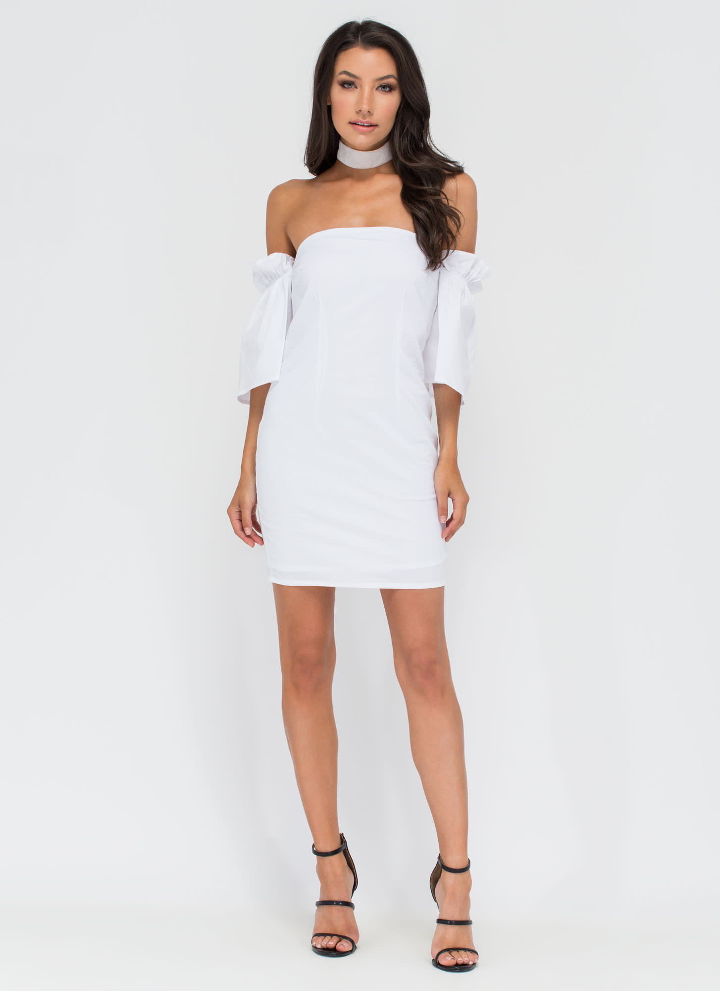 Breezy Day Off-Shoulder Ruffled Dress WHITE