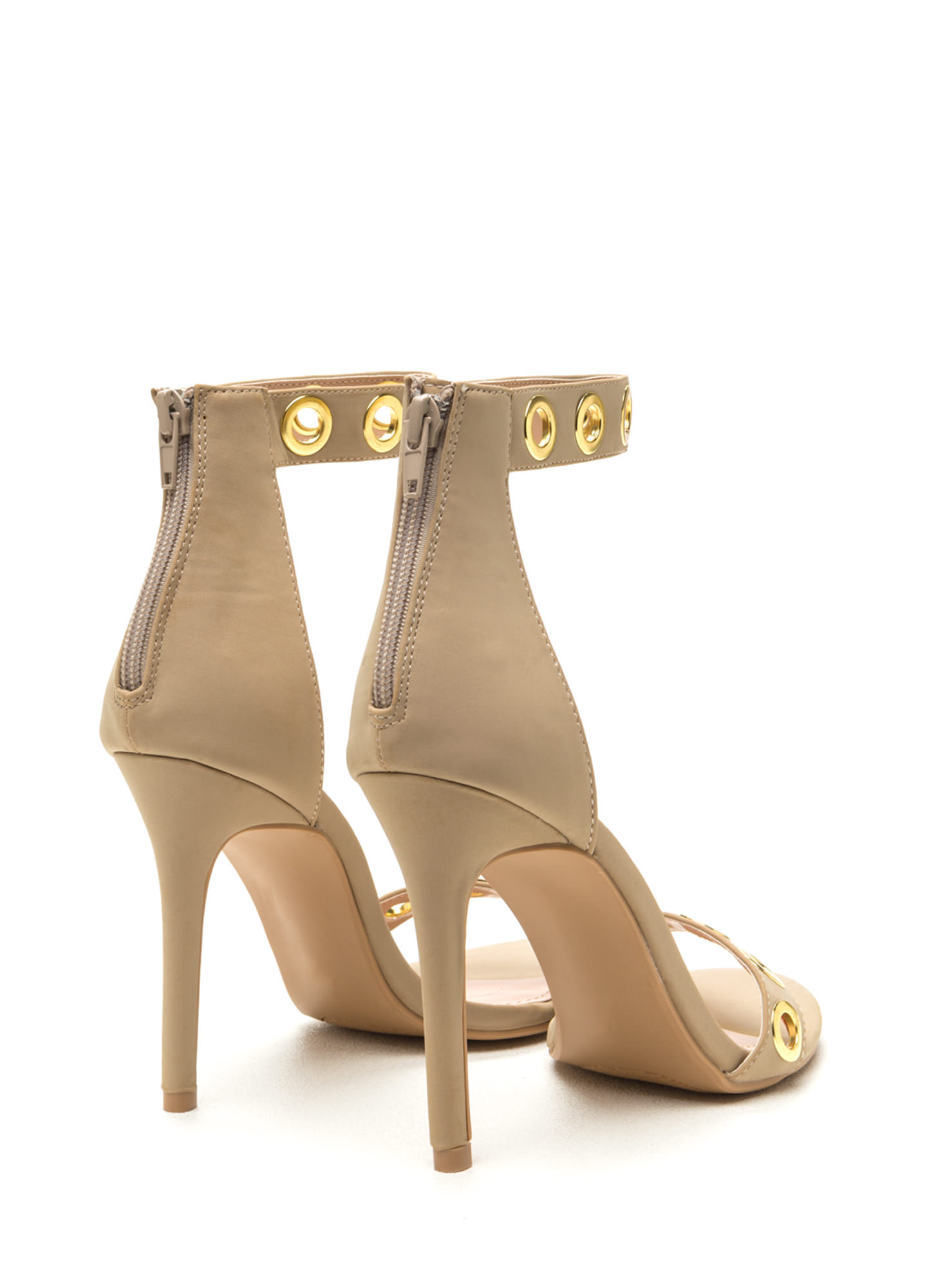 Earn Your Rings Strappy Grommet Heels NUDE