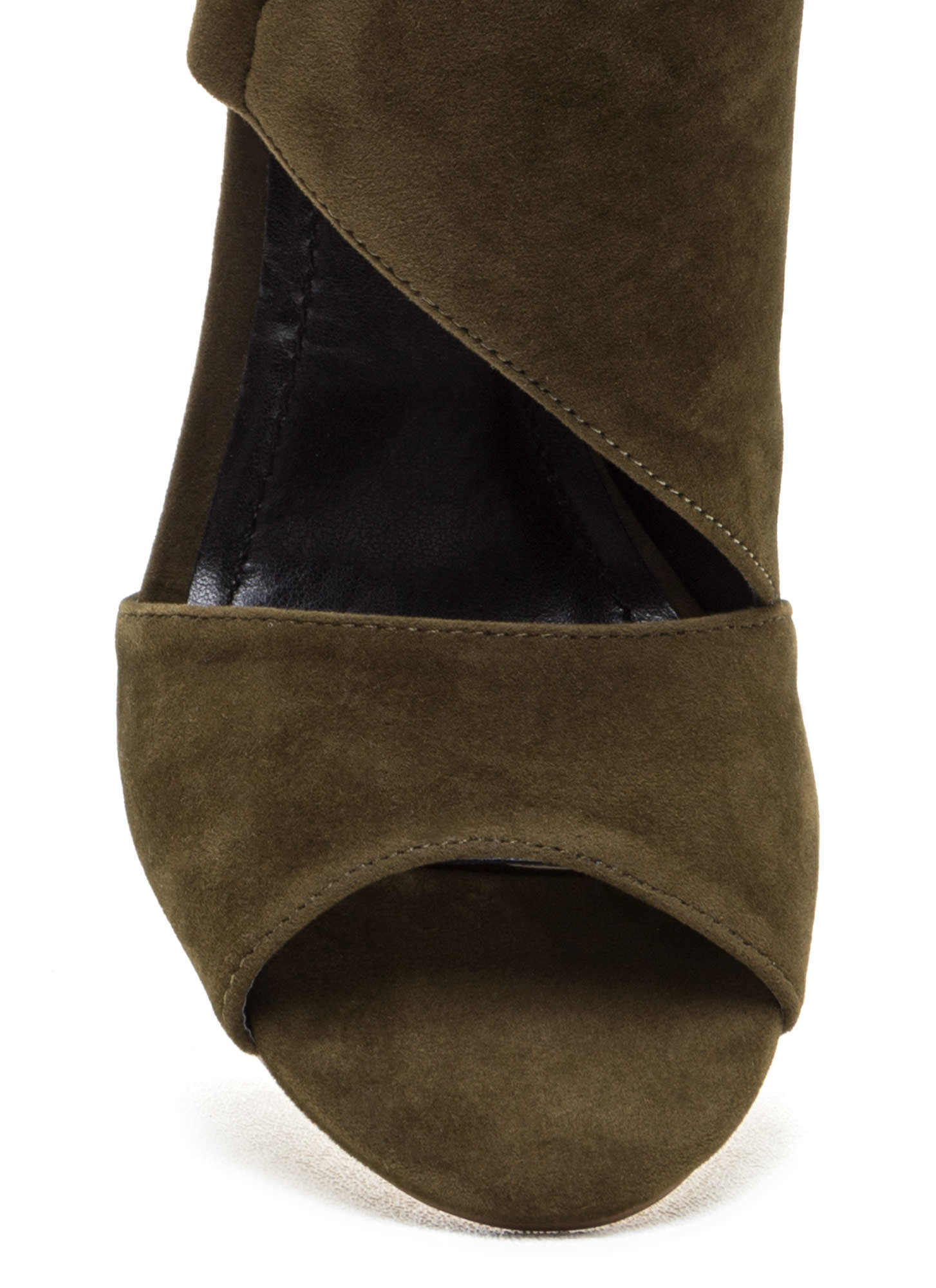 Strong Angles Faux Suede Chunky Heels OLIVE