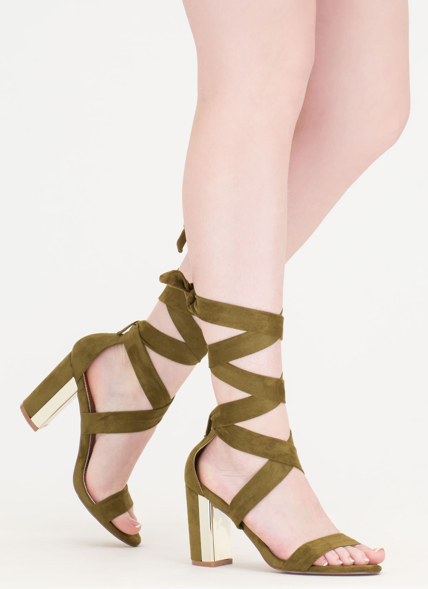 Gleam Come True Chunky Tie-Up Heels OLIVE