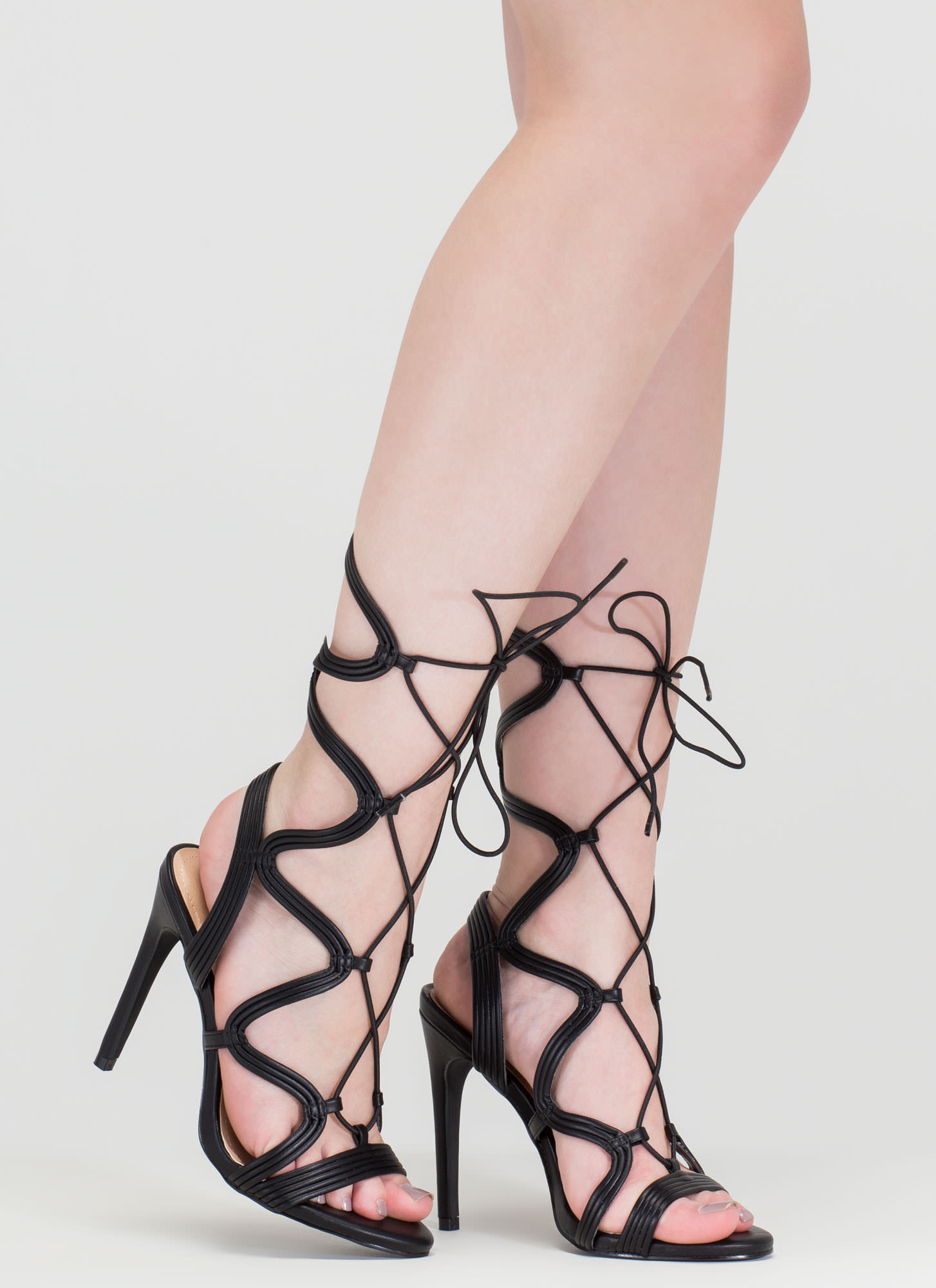 Wave Rider Lace-Up Caged Heels BLACK