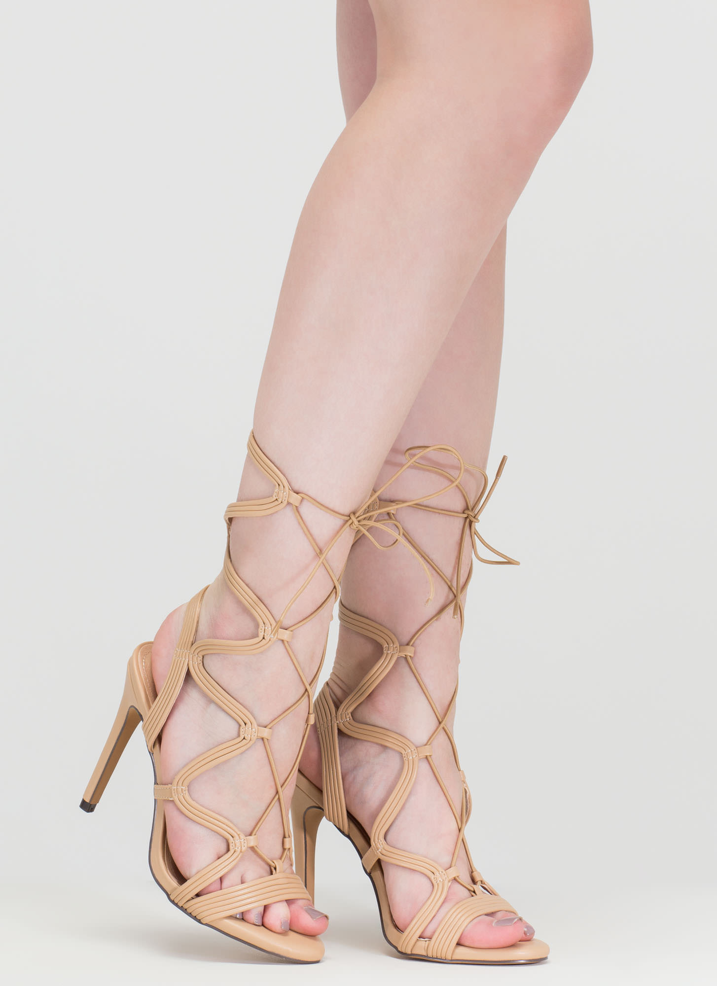 Wave Rider Lace-Up Caged Heels NUDE
