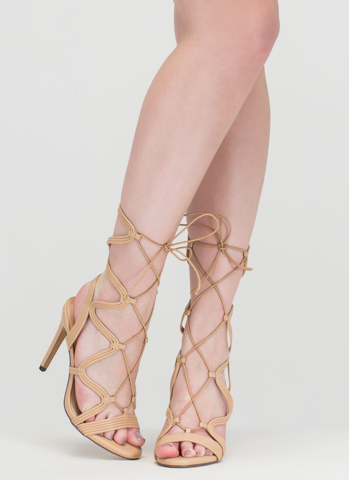 Wave Rider Lace-Up Caged Heels NUDE (Final Sale)