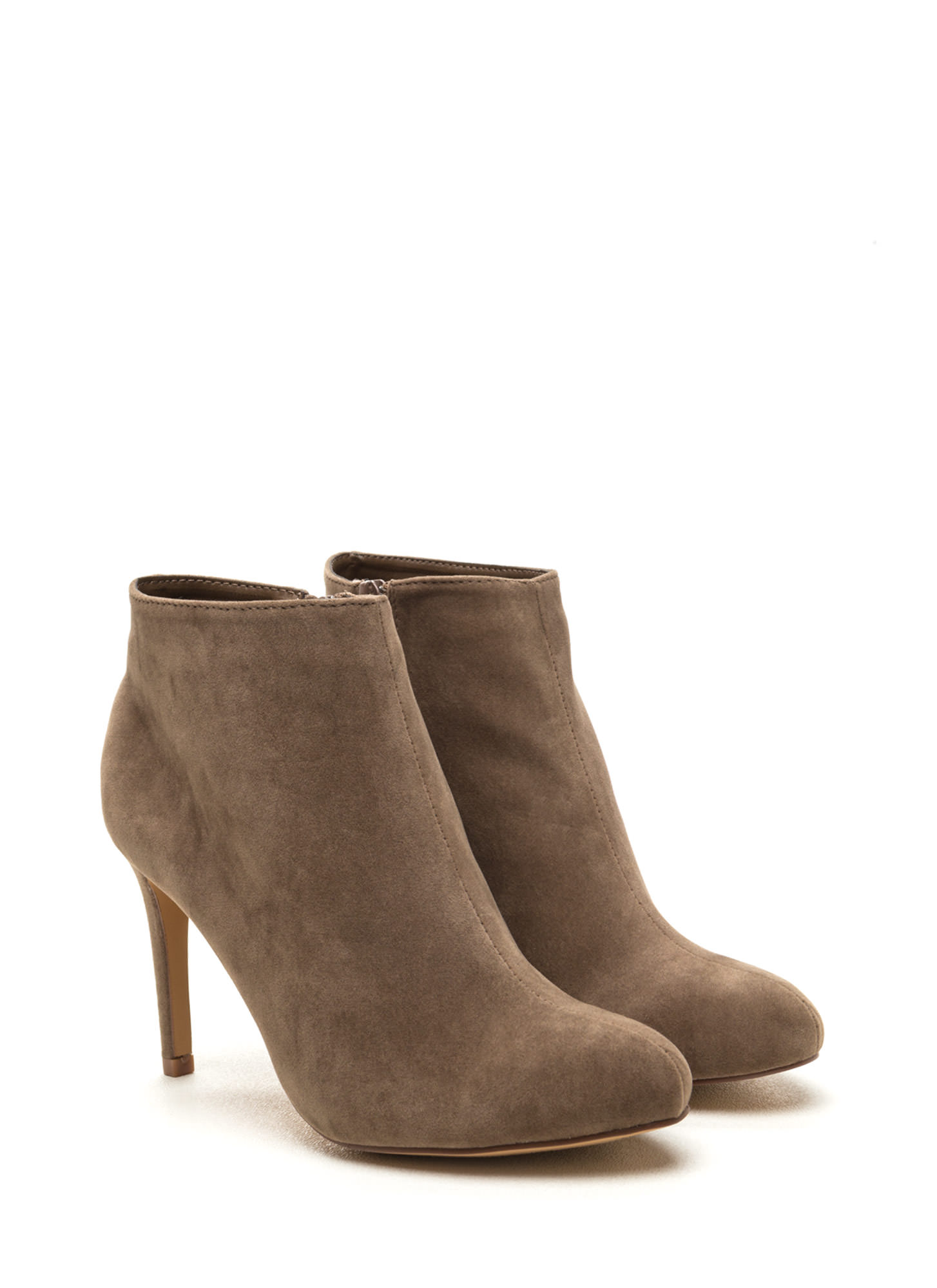 Plush Comes To Shove Velvet Booties TAUPE
