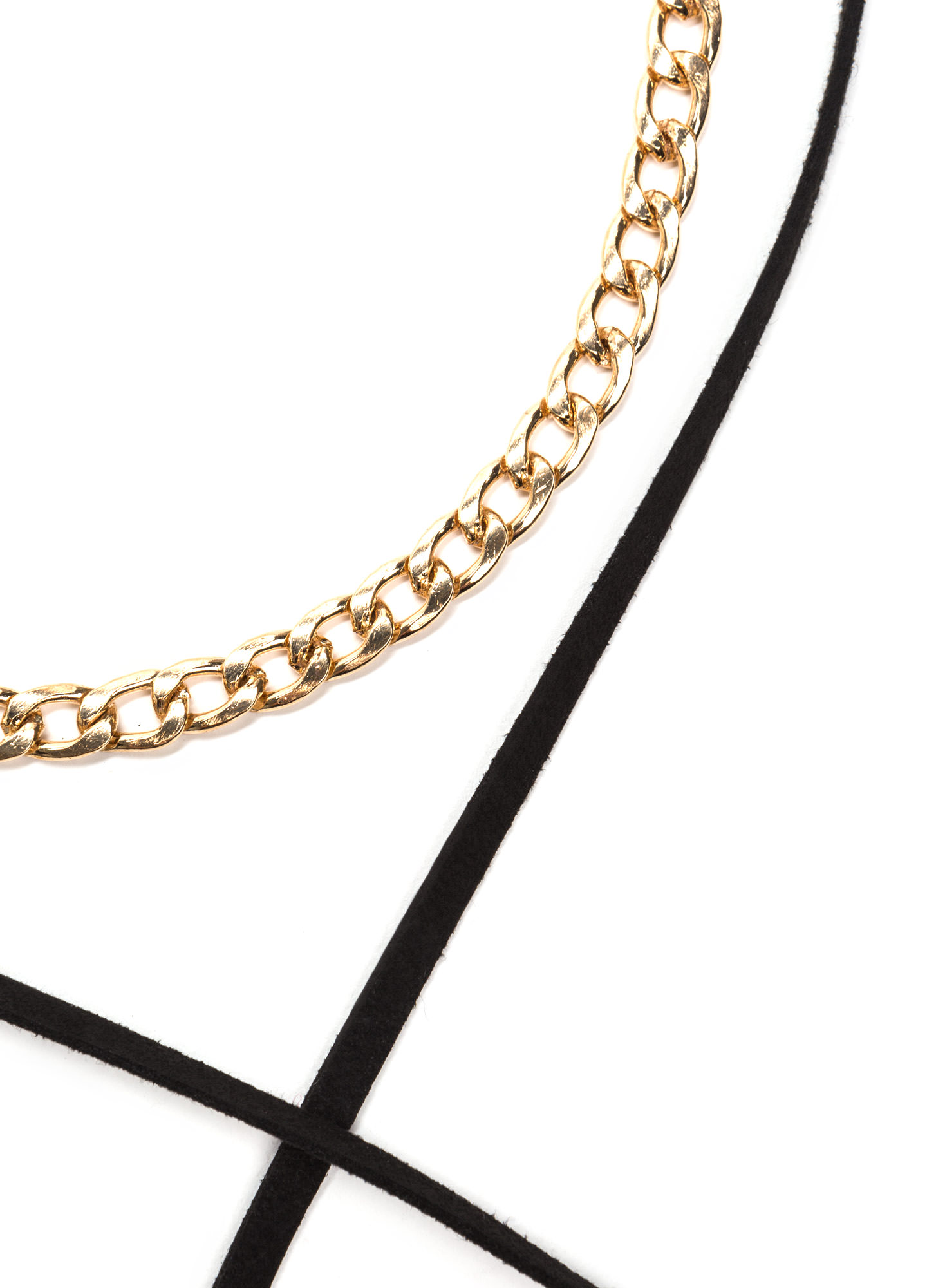 Love Chain Faux Suede Wrap Necklace BLACKGOLD