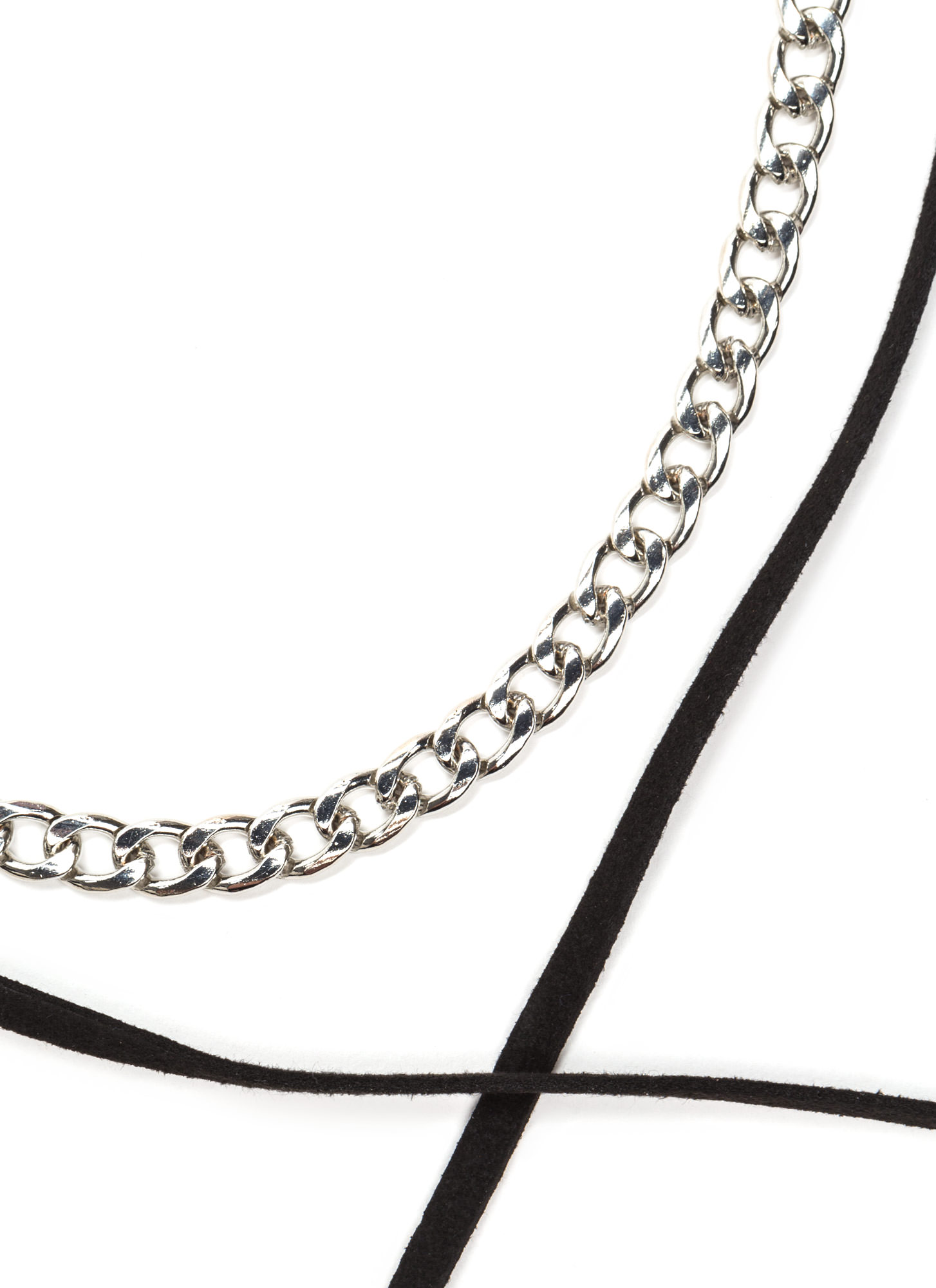 Love Chain Faux Suede Wrap Necklace BLACKSILVER