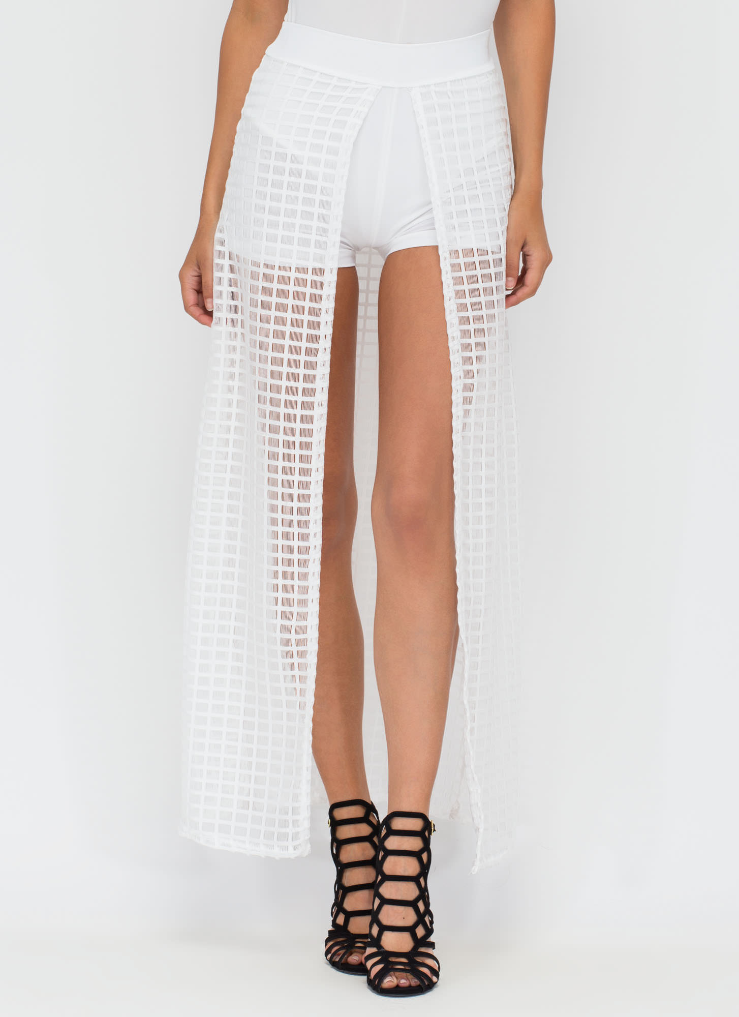 Grid Work High-Low Shorts WHITE