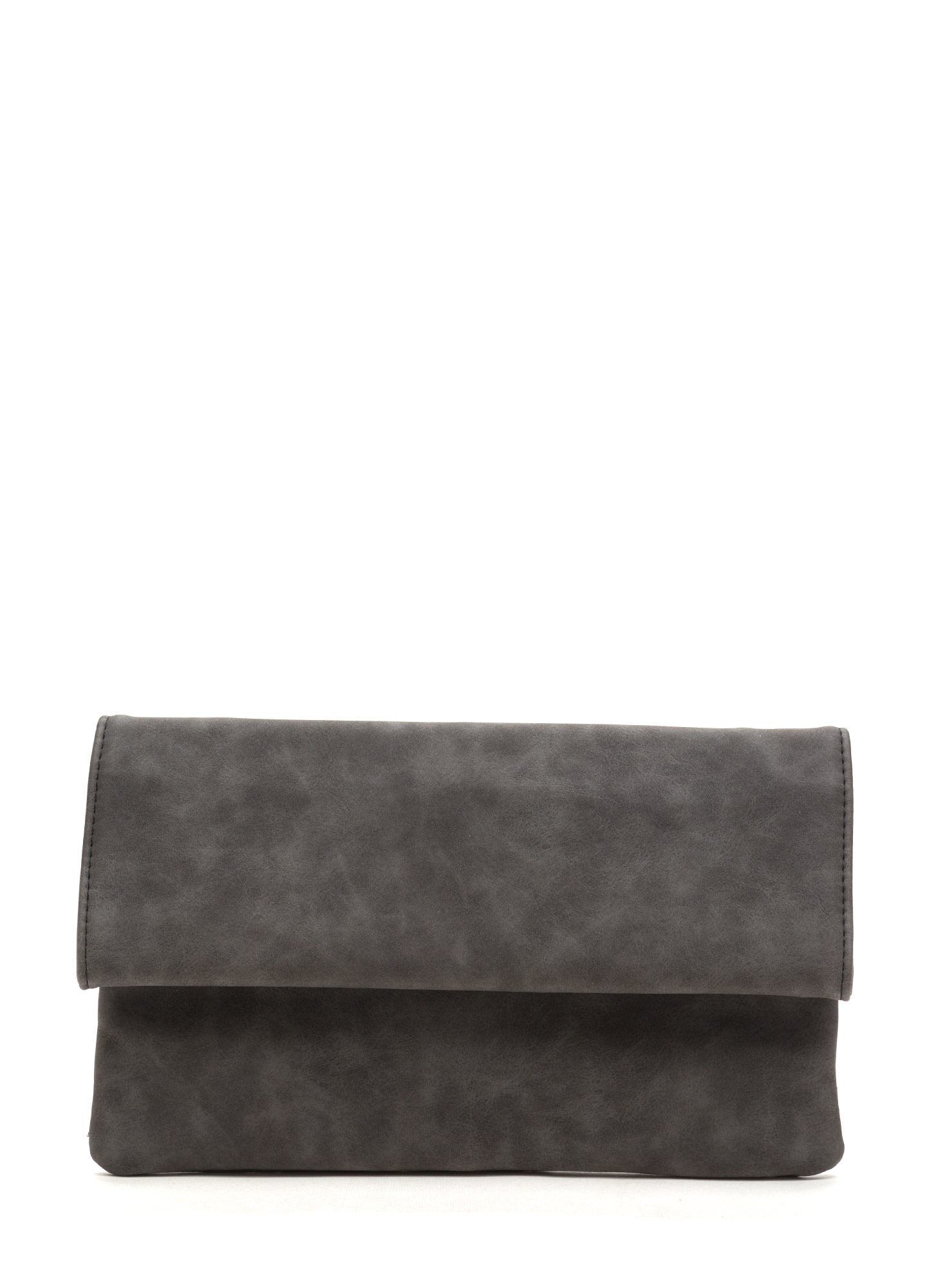 Chic View Faux Leather Foldover Clutch BLACK