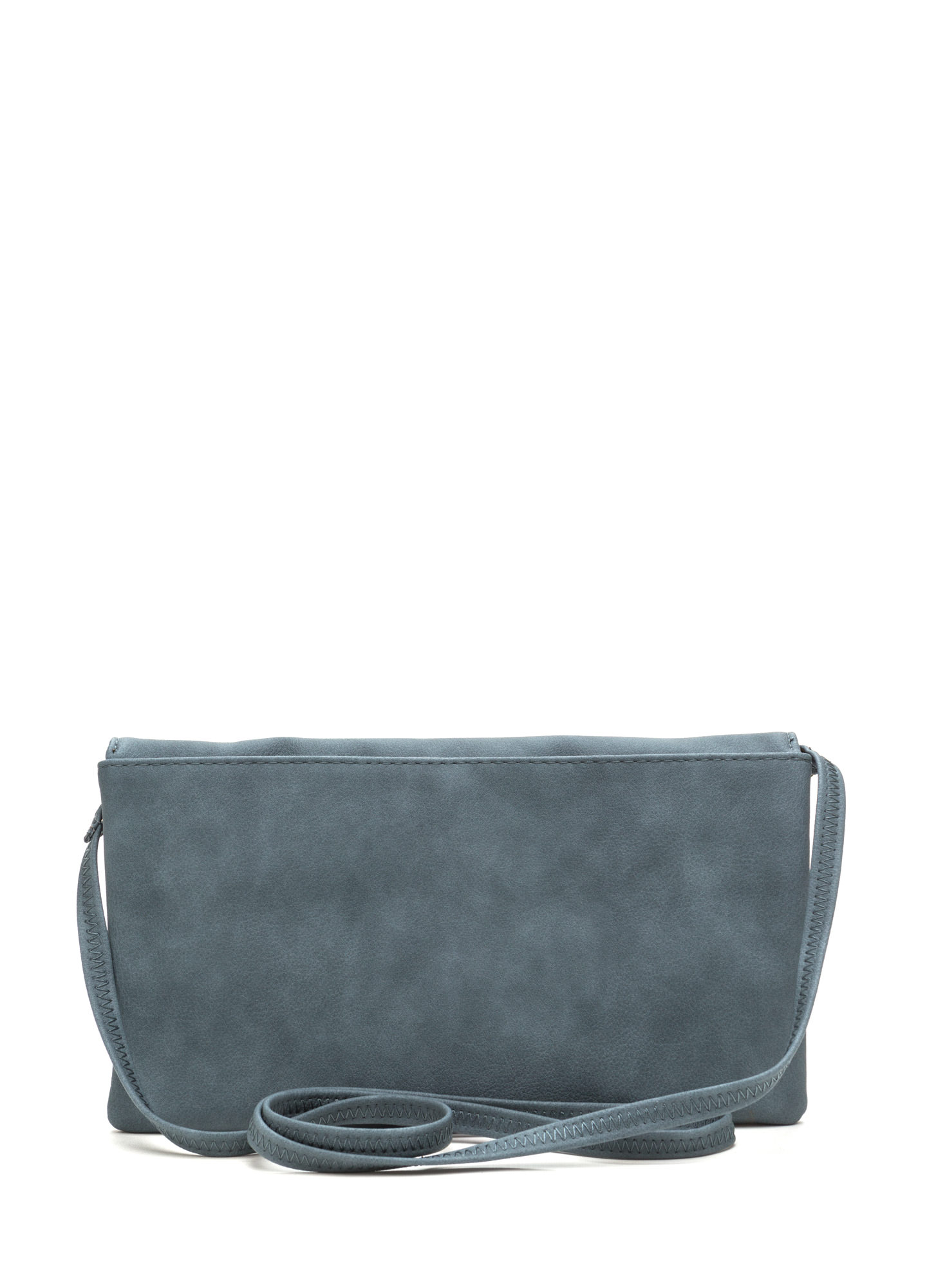Chic View Faux Leather Foldover Clutch BLUE