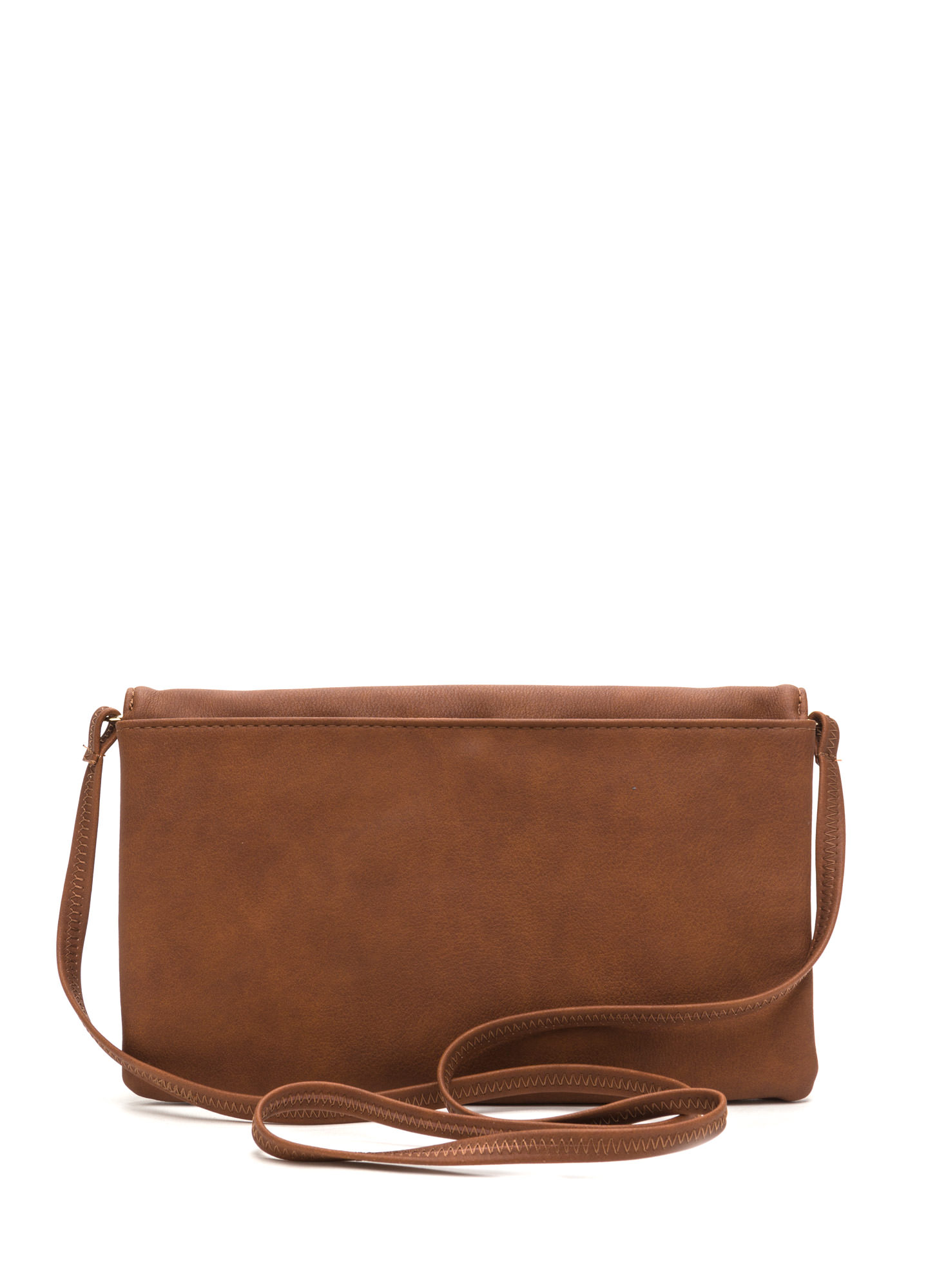 Chic View Faux Leather Foldover Clutch BROWN