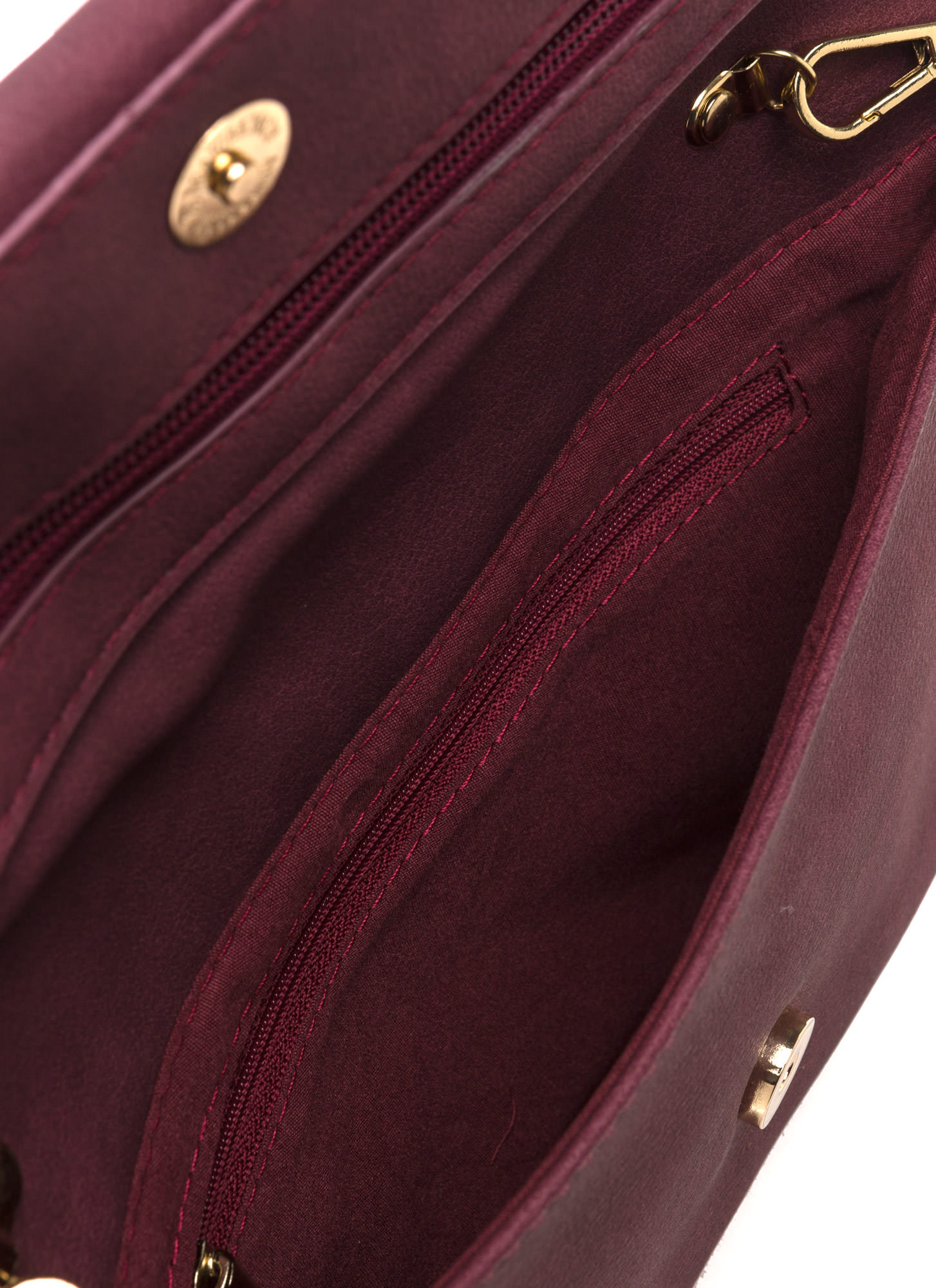 Chic View Faux Leather Foldover Clutch BURGUNDY