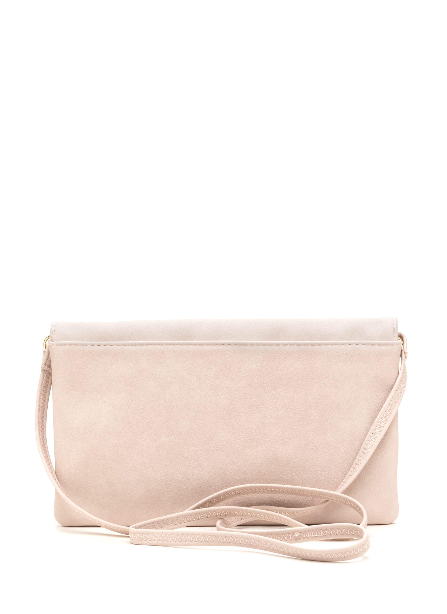 Chic View Faux Leather Foldover Clutch IVORY