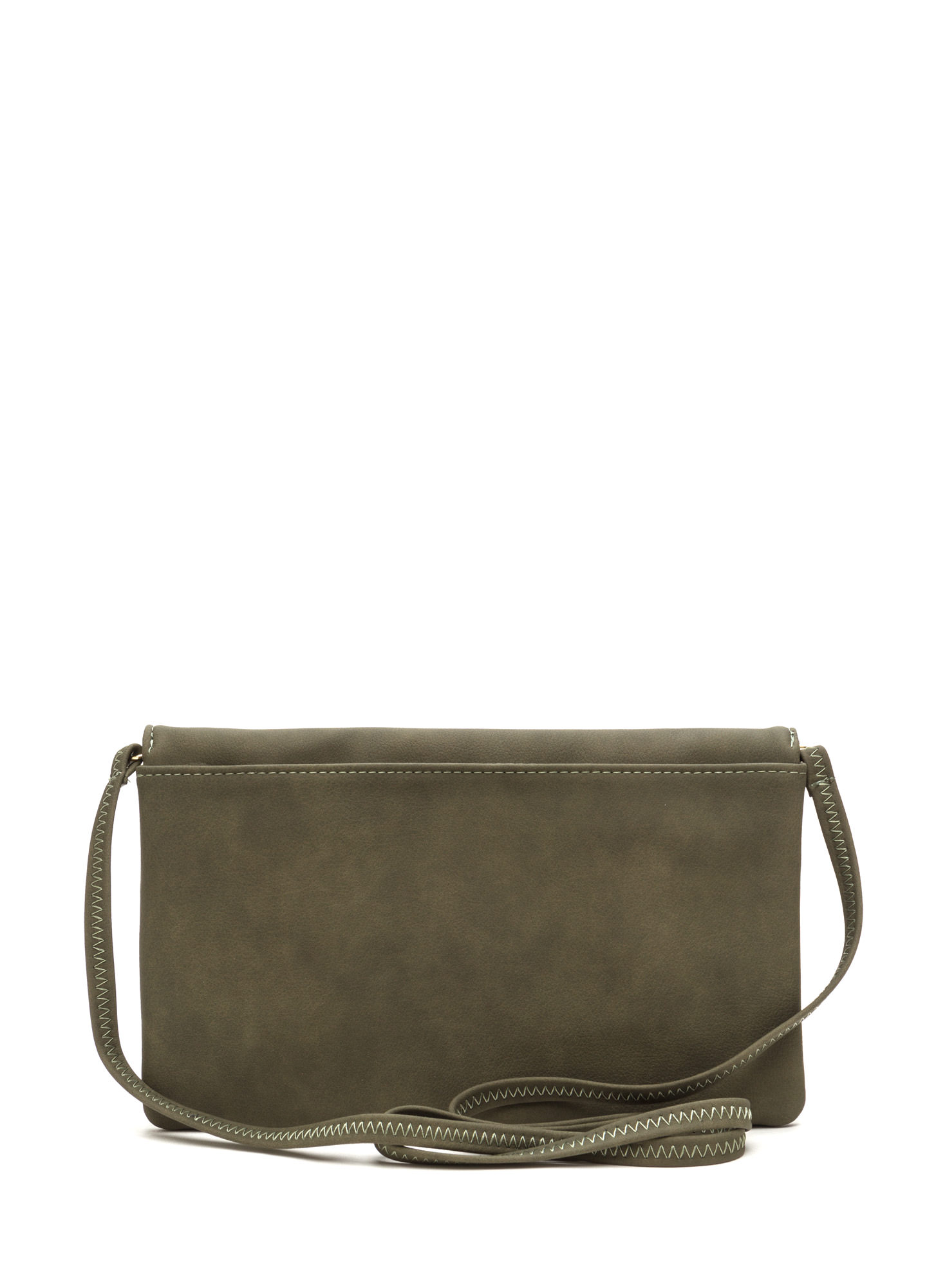 Chic View Faux Leather Foldover Clutch OLIVE