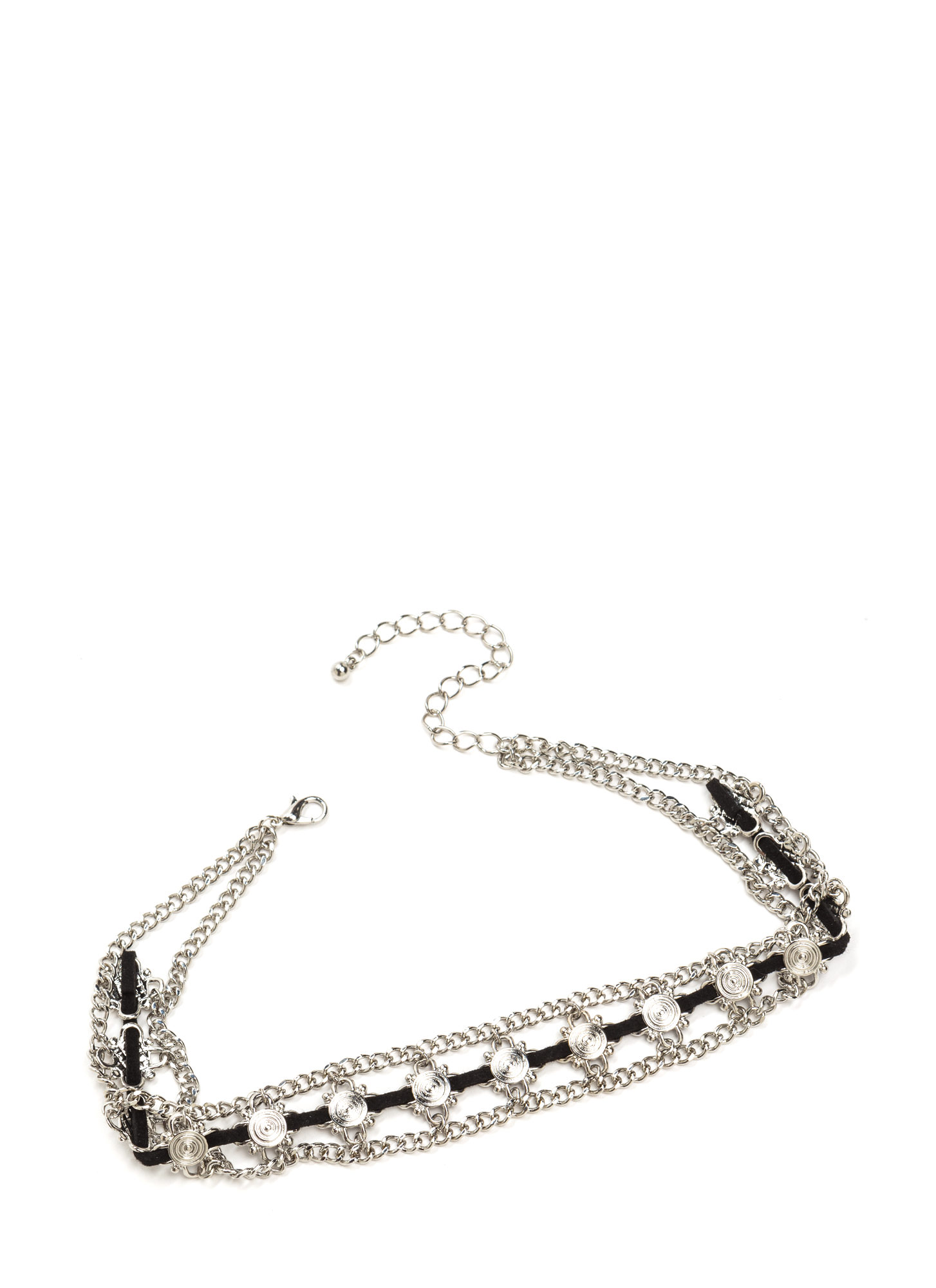 Sure Thing Textured Charm Choker SILVERBLACK