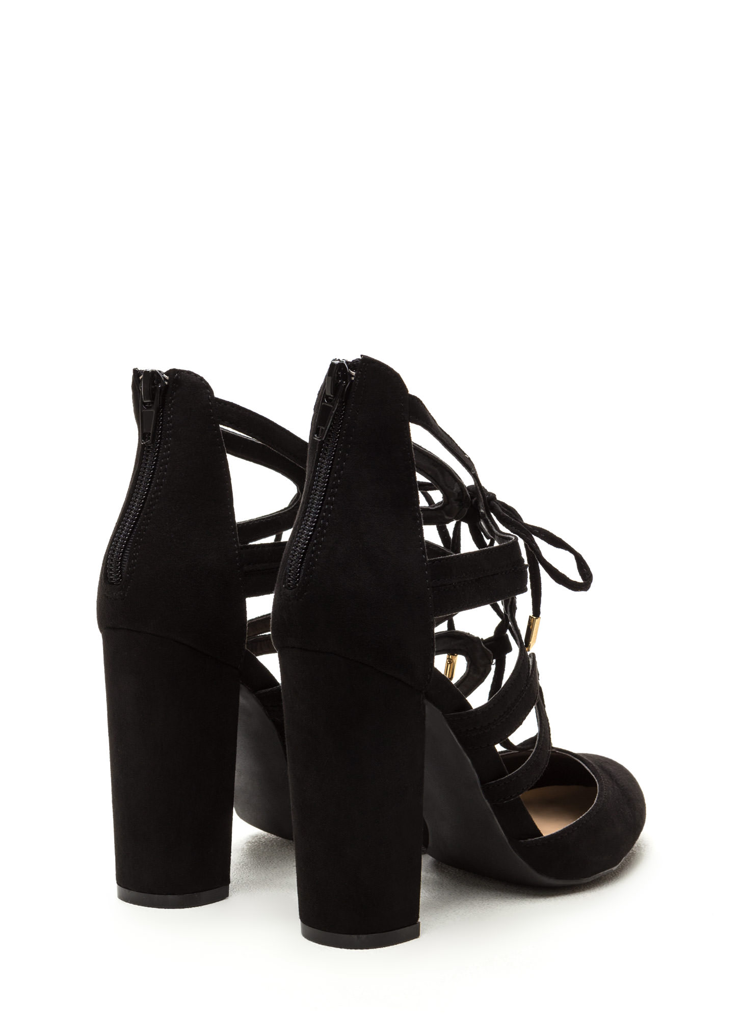 Dancing On My Own Chunky Laced Heels BLACK