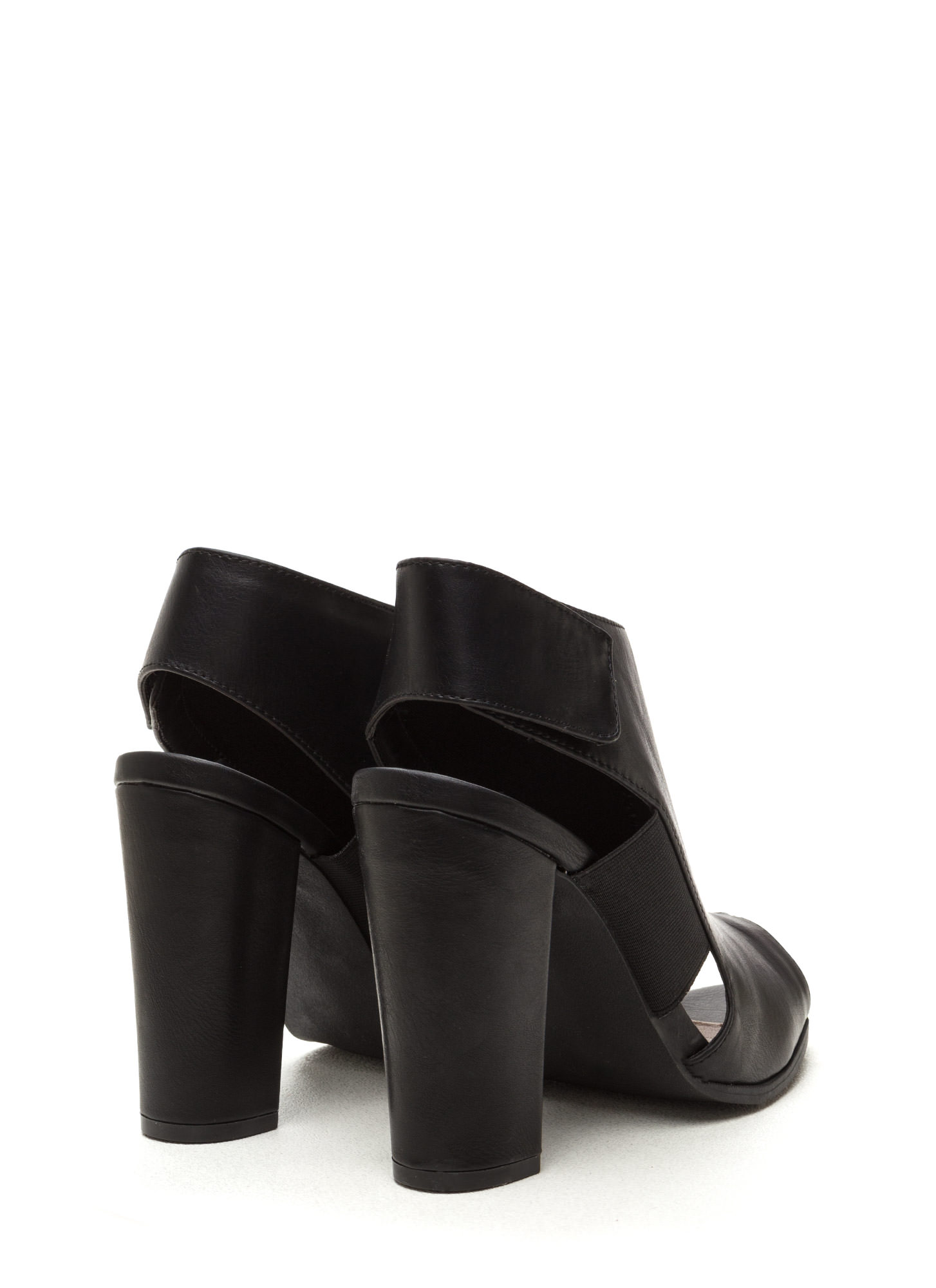 Style Fix Faux Leather Cut-Out Booties BLACK