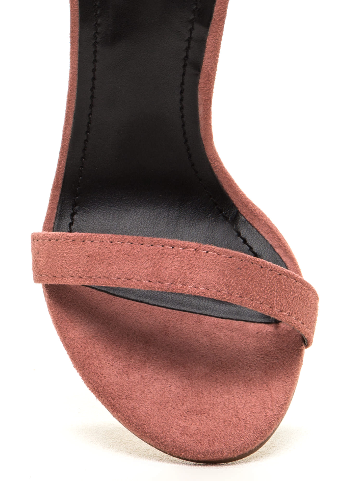 Keyhole To My Heart Faux Suede Heels BLUSH