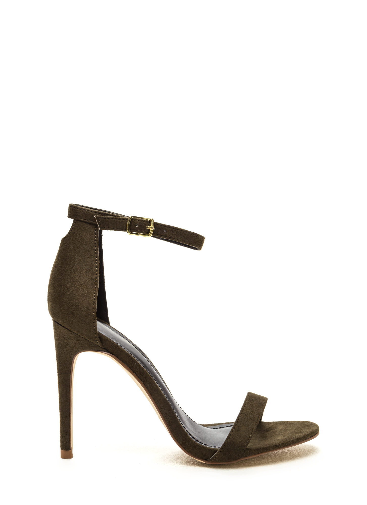 Keyhole To My Heart Faux Suede Heels OLIVE