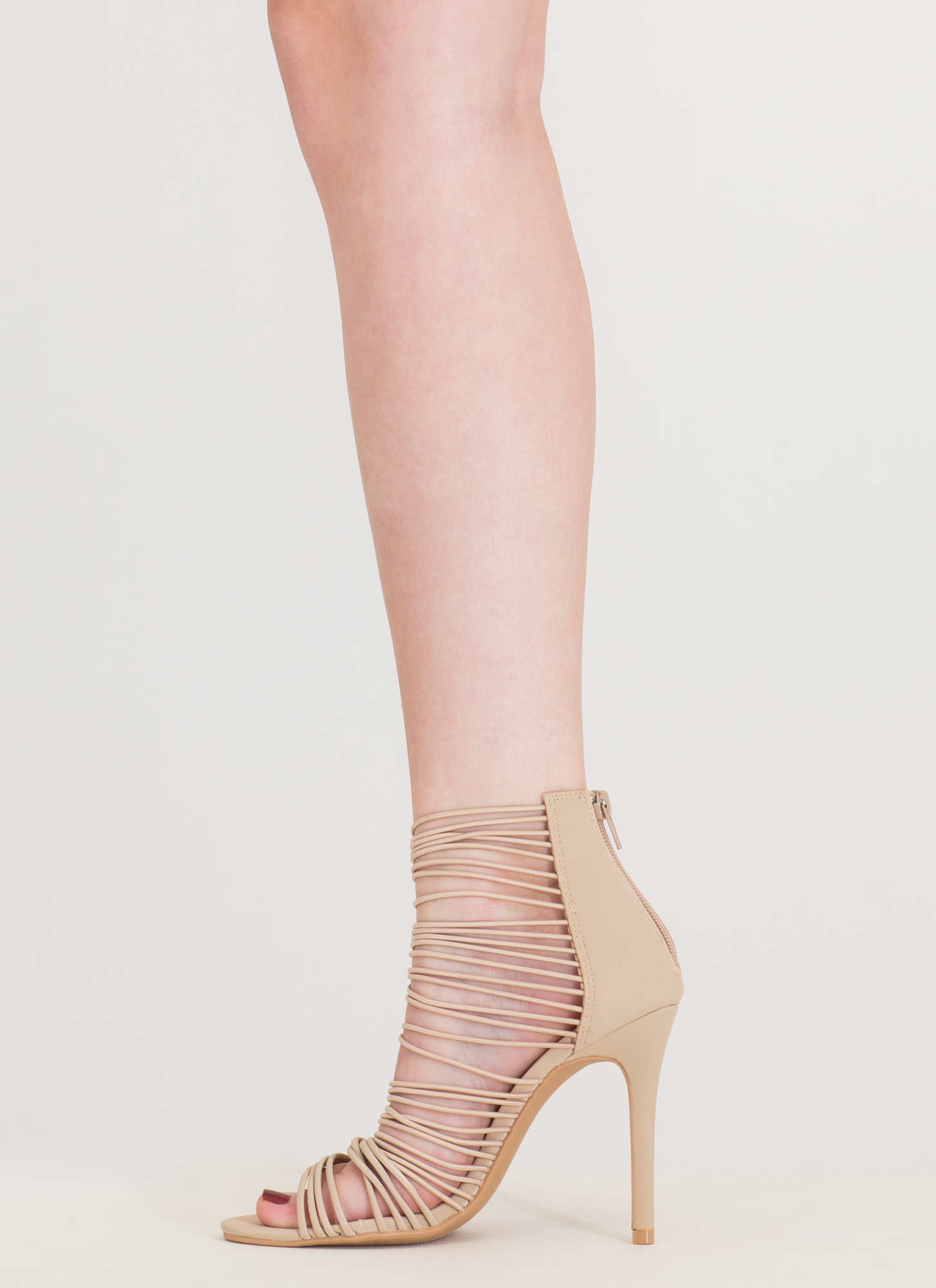 The Right Cords Strappy Caged Heels NUDE