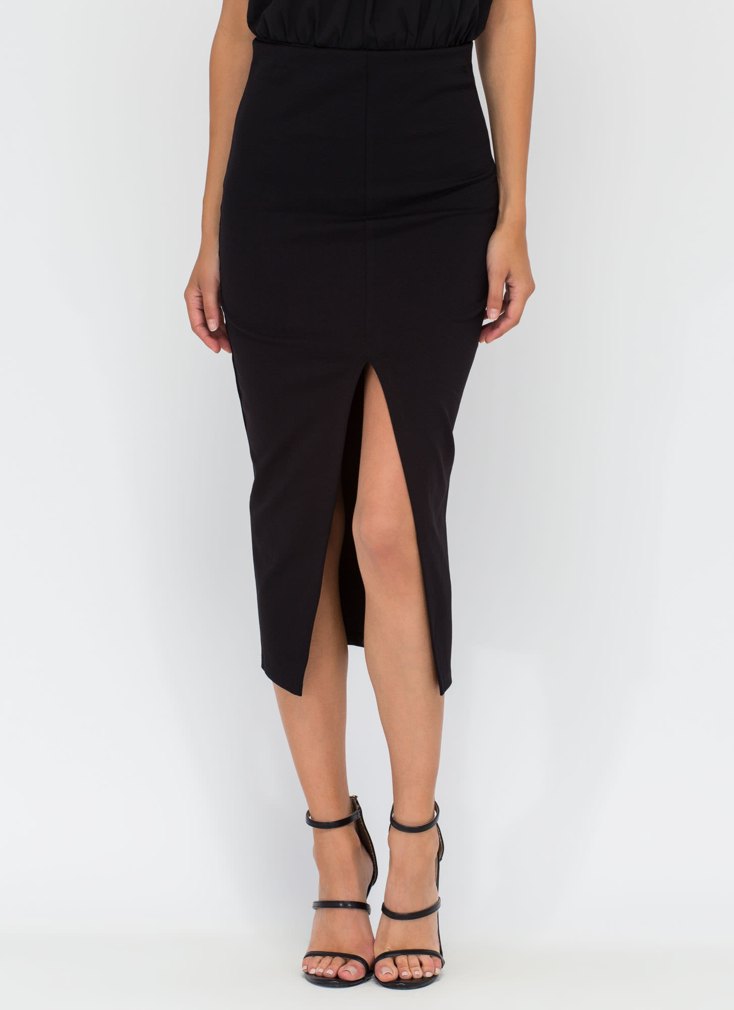 Cut-Out To Get You Slit Midi Skirt BLACK