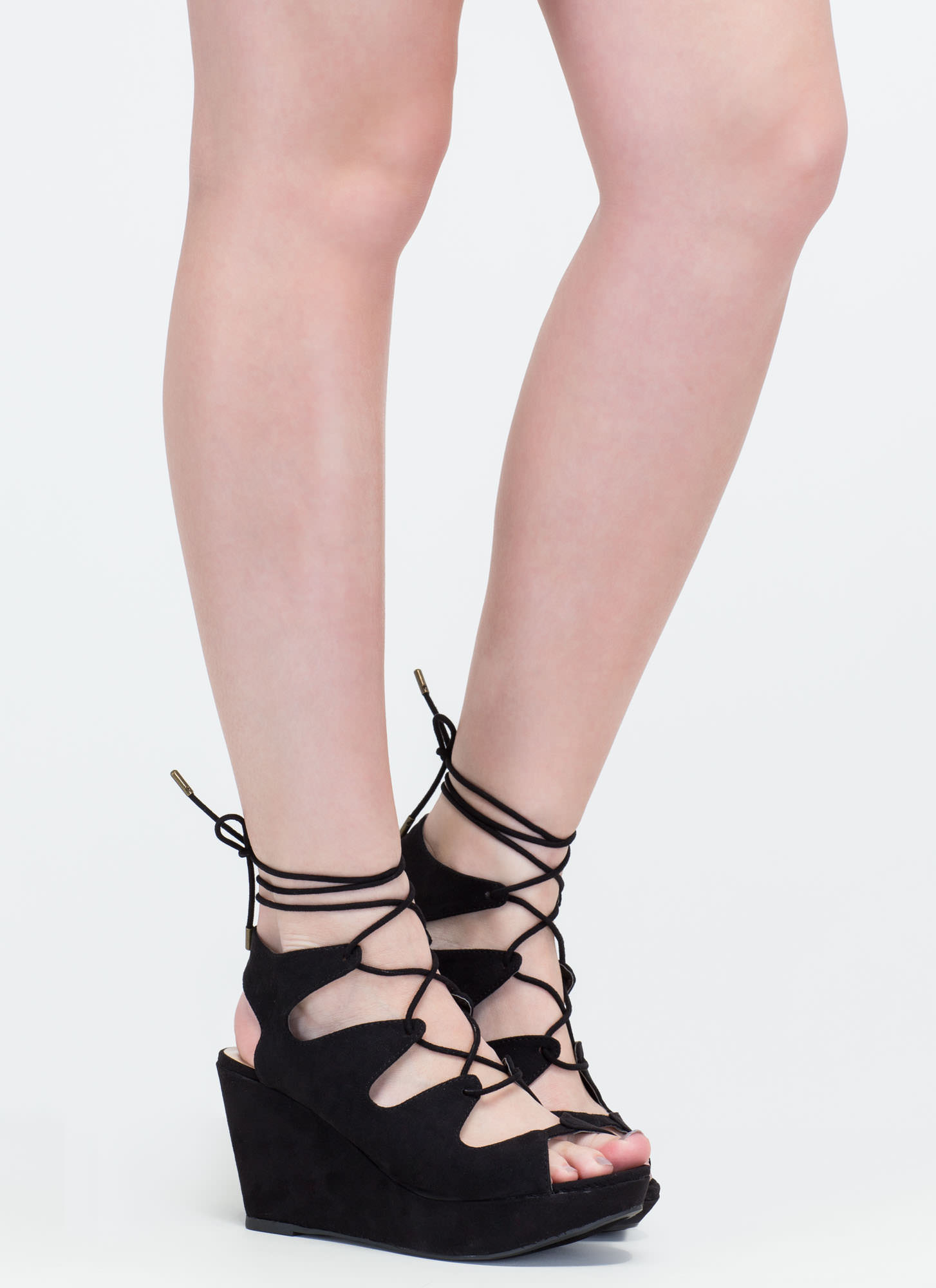 Wow Factor Lace-up Faux Suede Wedges BLACK