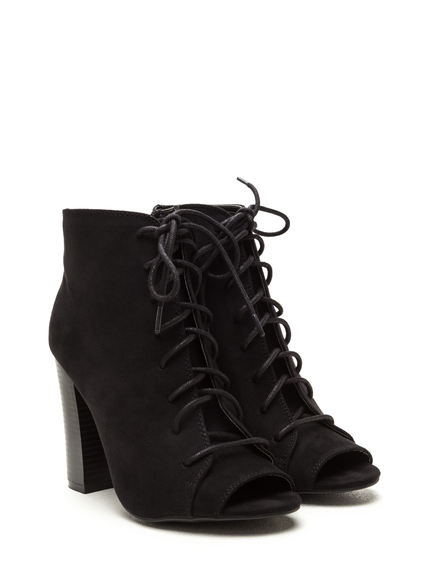 Fashion Authority Lace-Up Booties BLACK