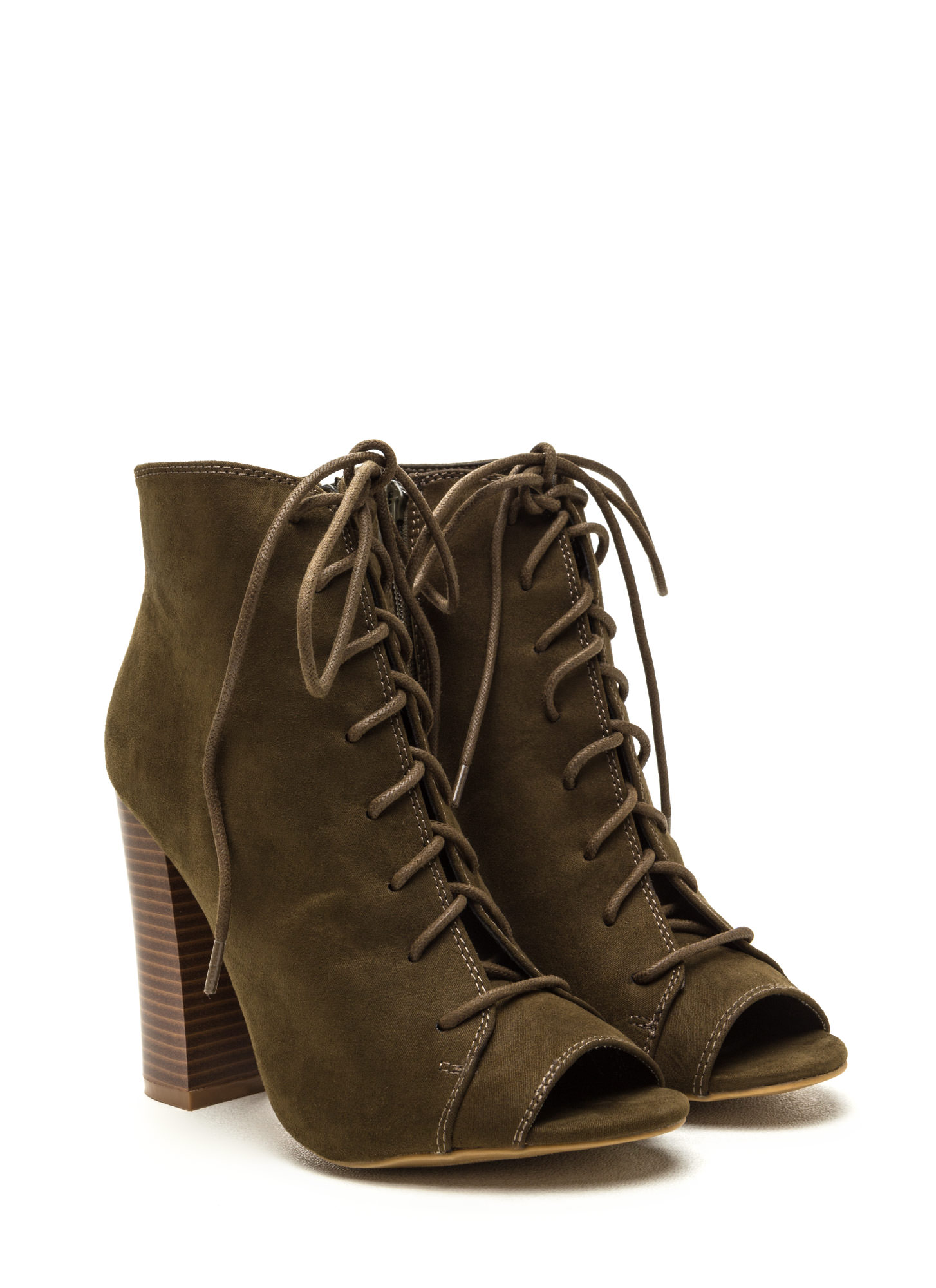Fashion Authority Lace-Up Booties OLIVE