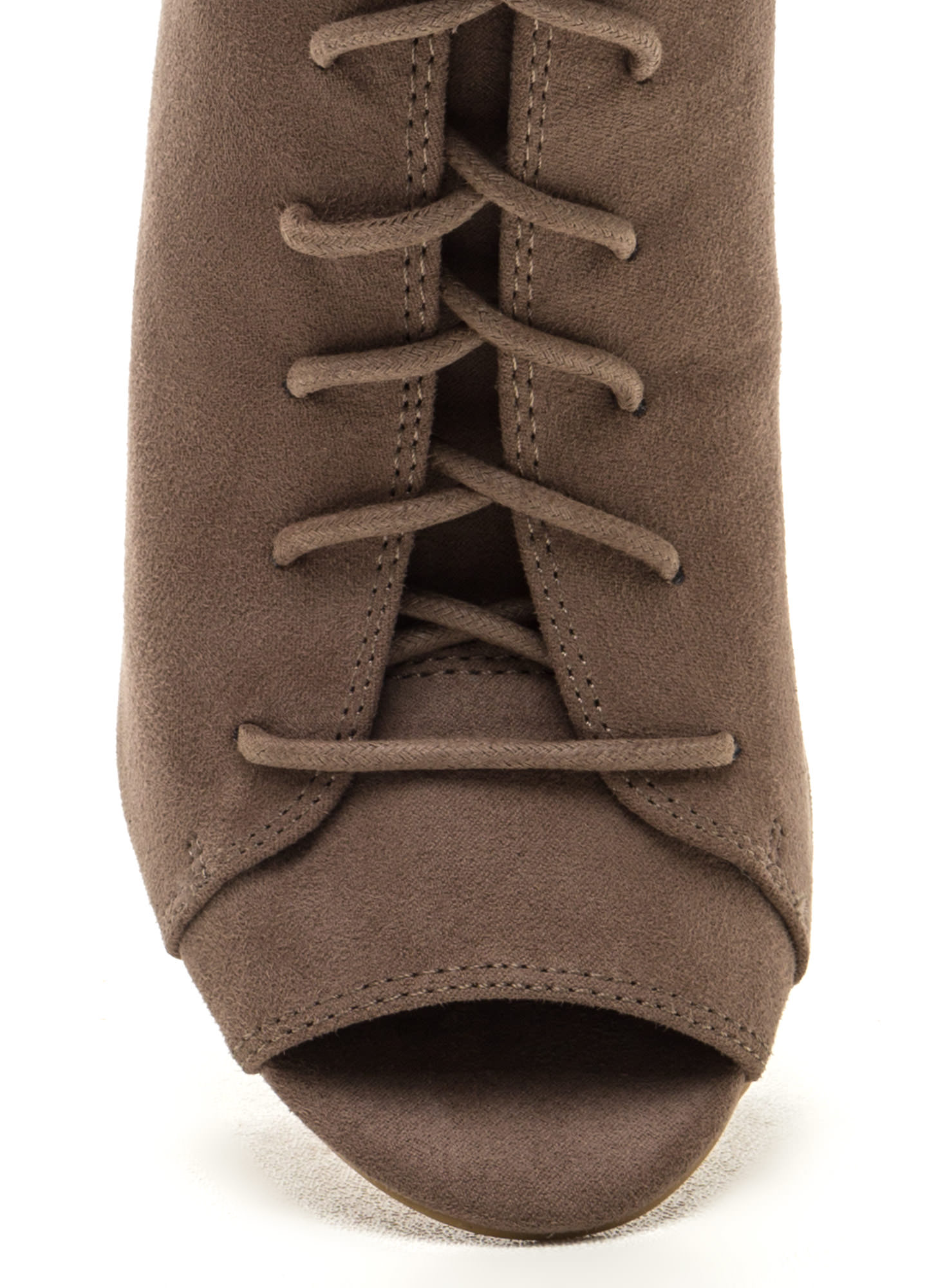 Fashion Authority Lace-Up Booties TAUPE