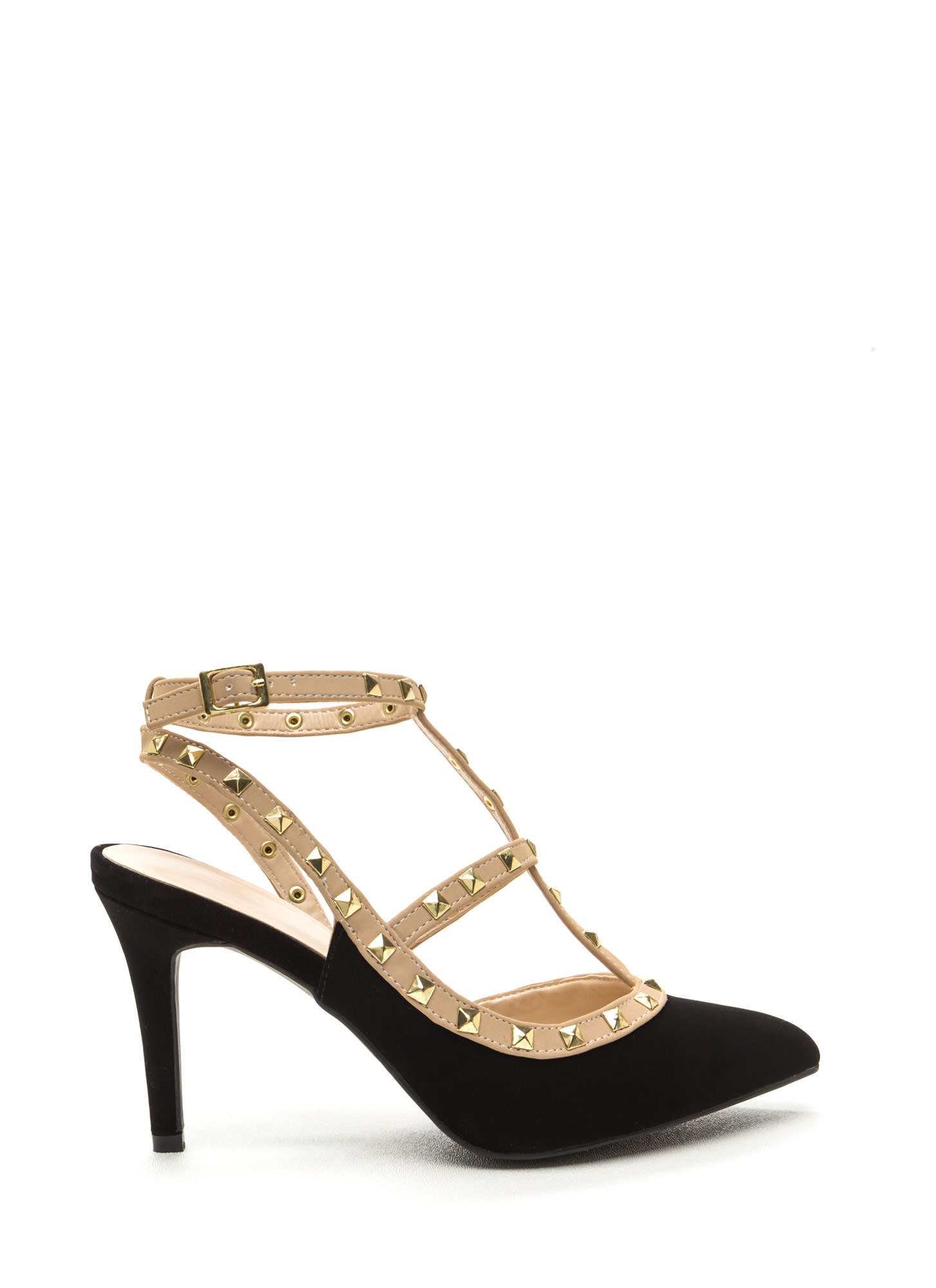 Good Sole Studded T-Strap Heels Image