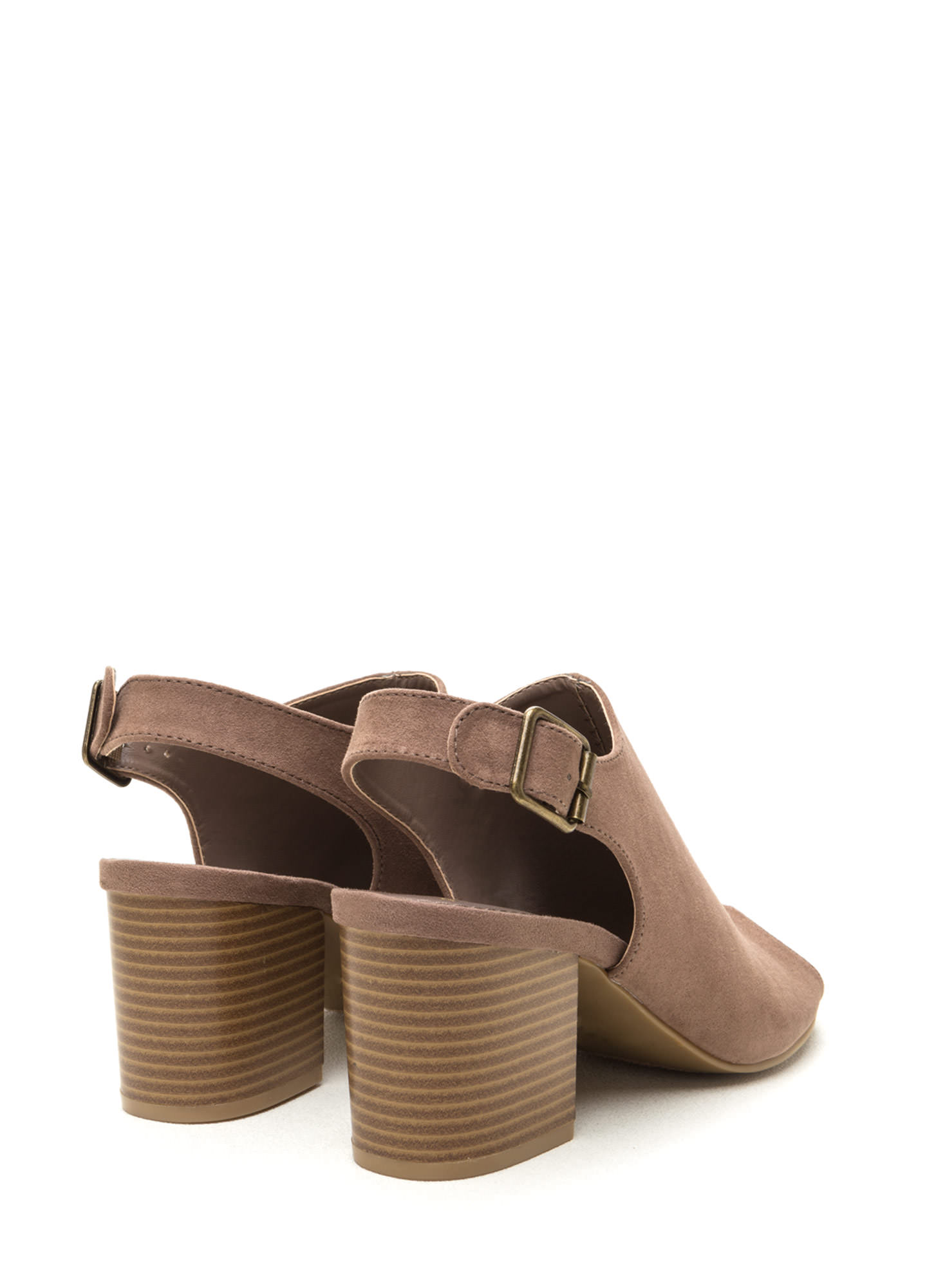 Afternoon Delight Faux Suede Heels TAUPE