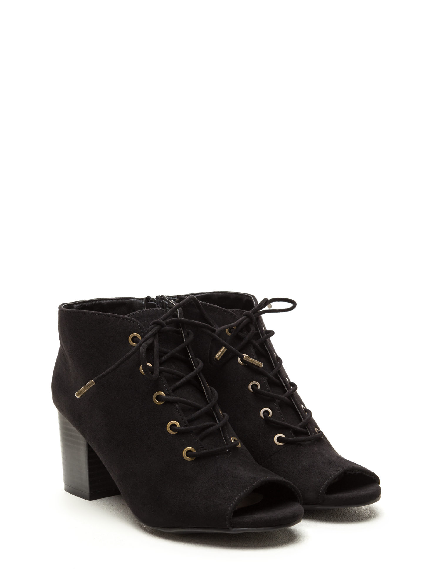 Day After Day Chunky Lace-Up Booties BLACK