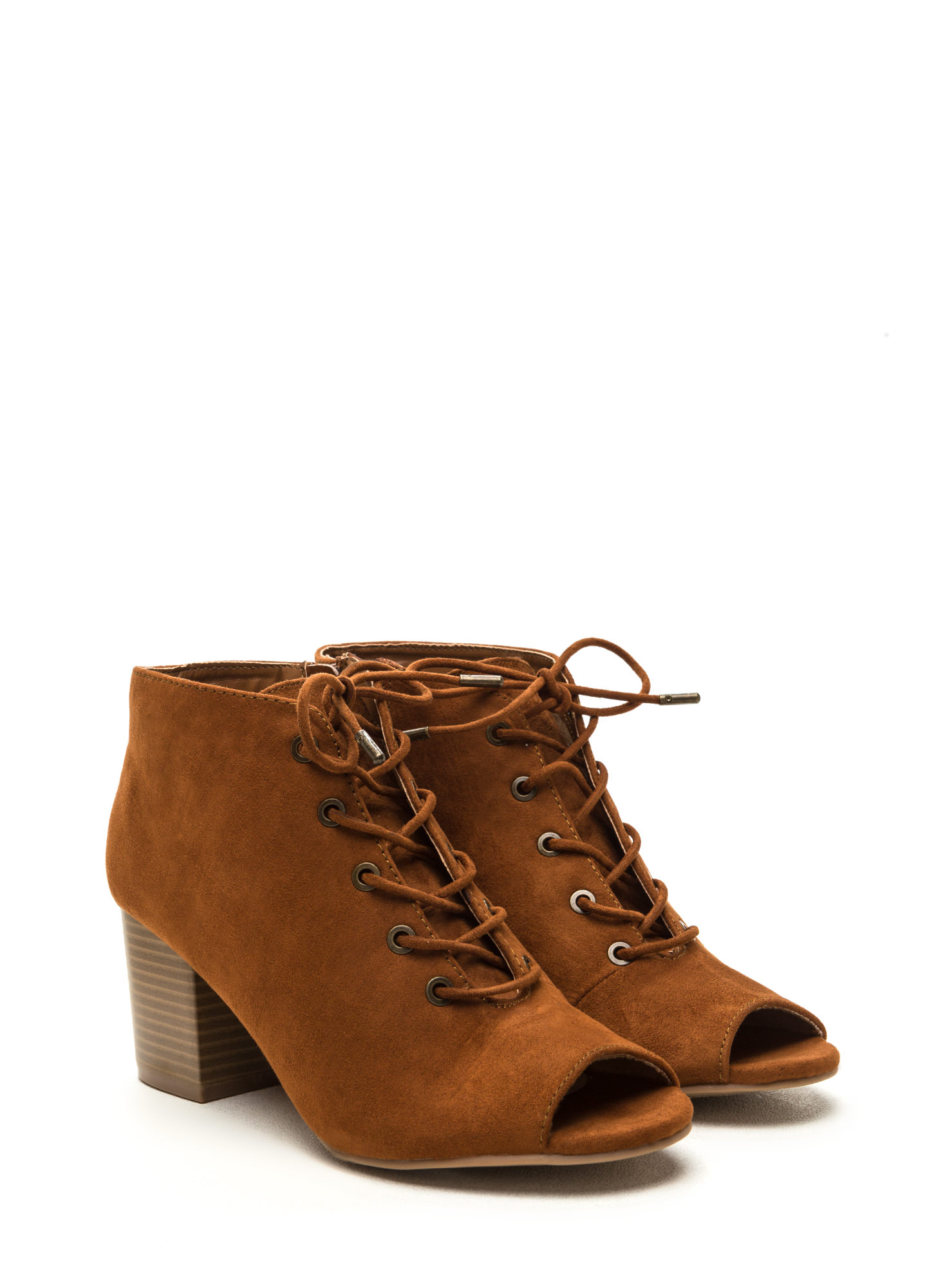 Day After Day Chunky Lace-Up Booties CHESTNUT
