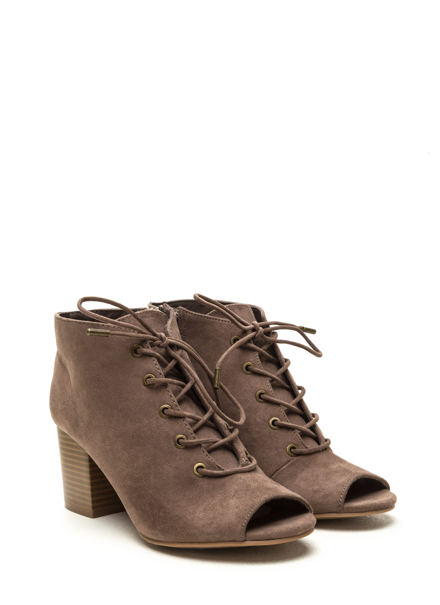 Day After Day Chunky Lace-Up Booties TAUPE