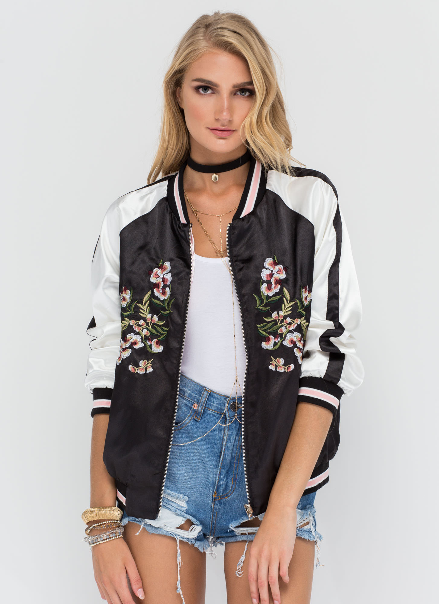 All Fleur It Reversible Bomber Jacket BLACK