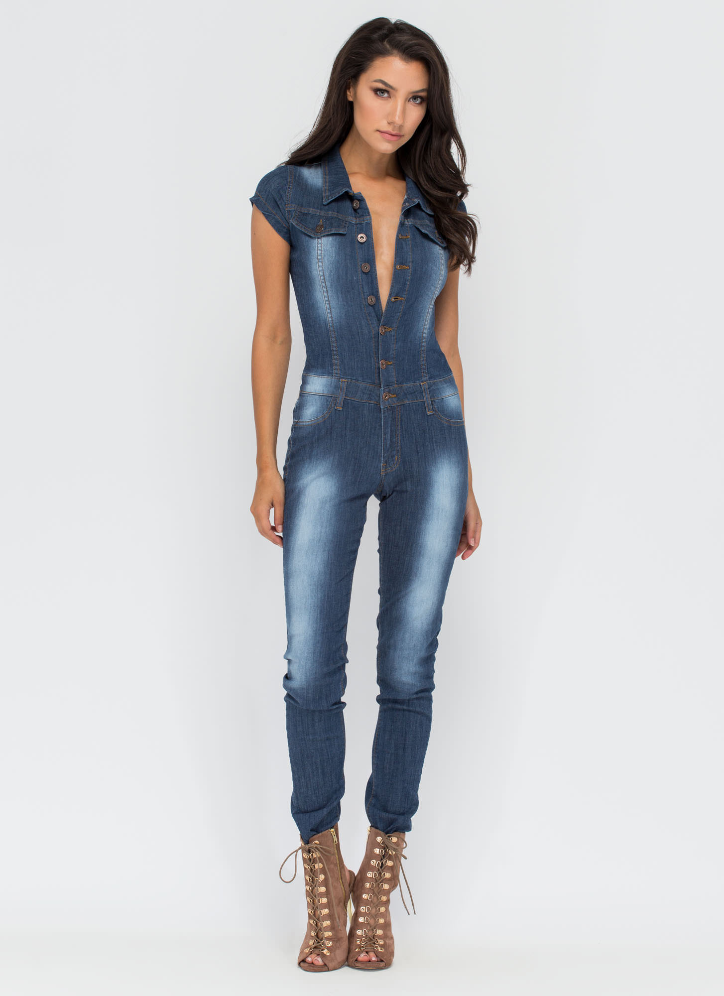 Delightful Denim Button-Up Jumpsuit BLUE