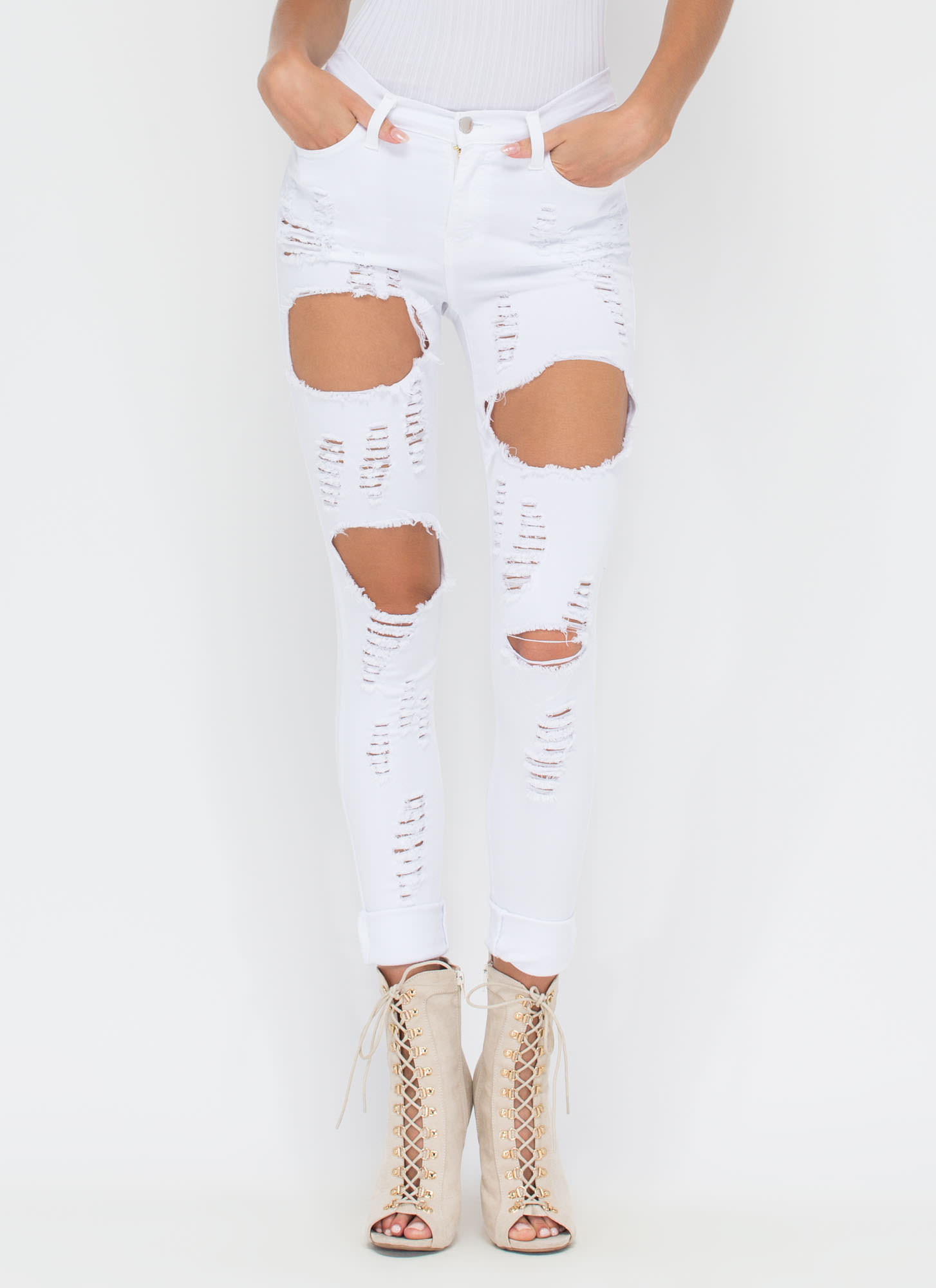 Destruction Zone Cut-Out Skinny Jeans WHITE