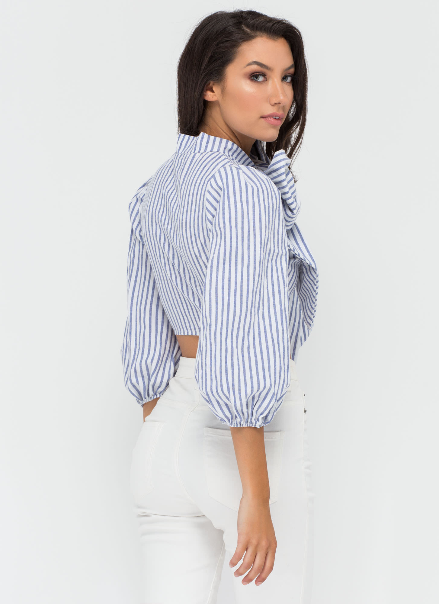 On A Whim Striped Crop Blouse BLUE