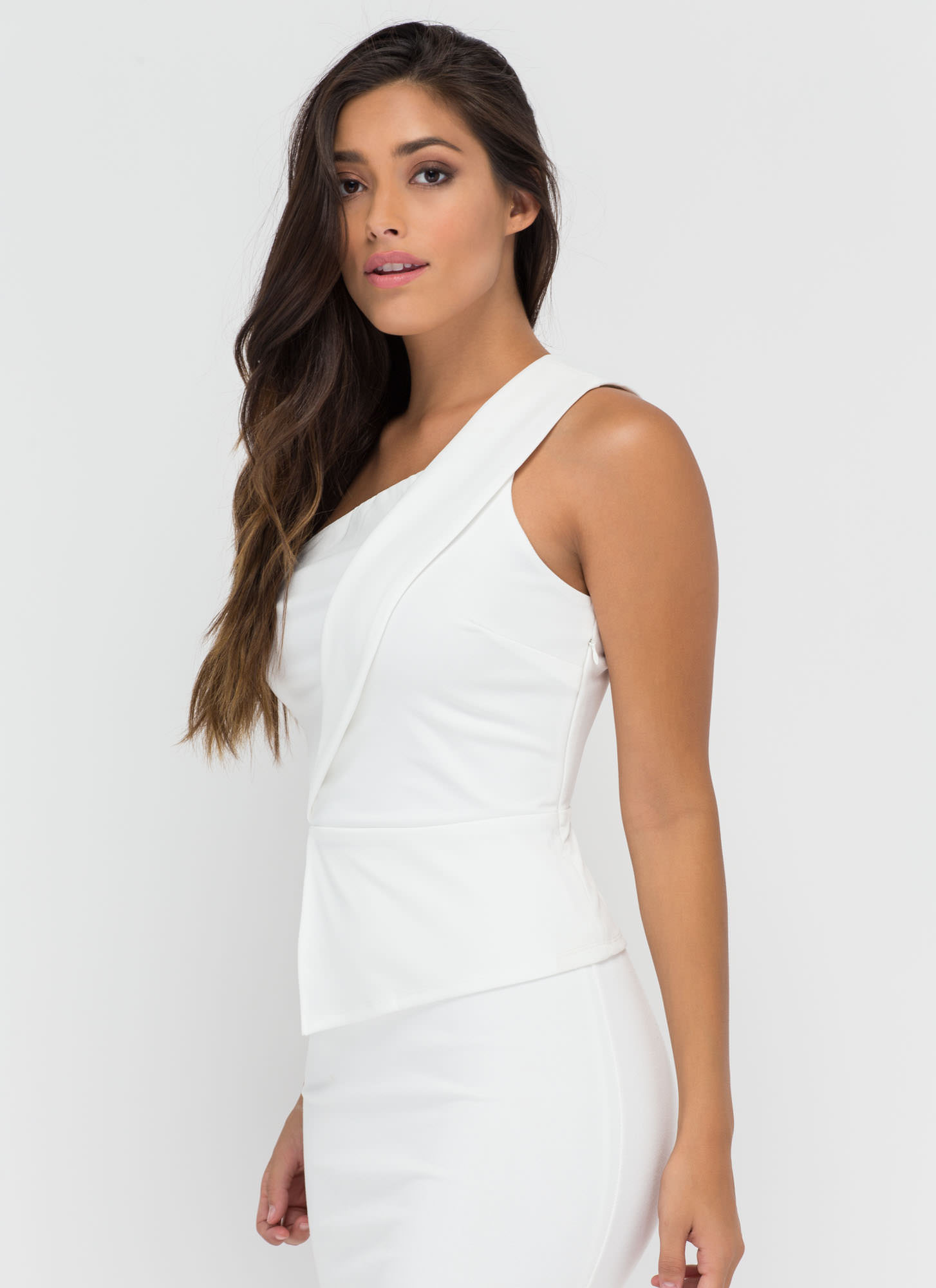 Grin 'N Bare It One-Shoulder Peplum Top WHITE