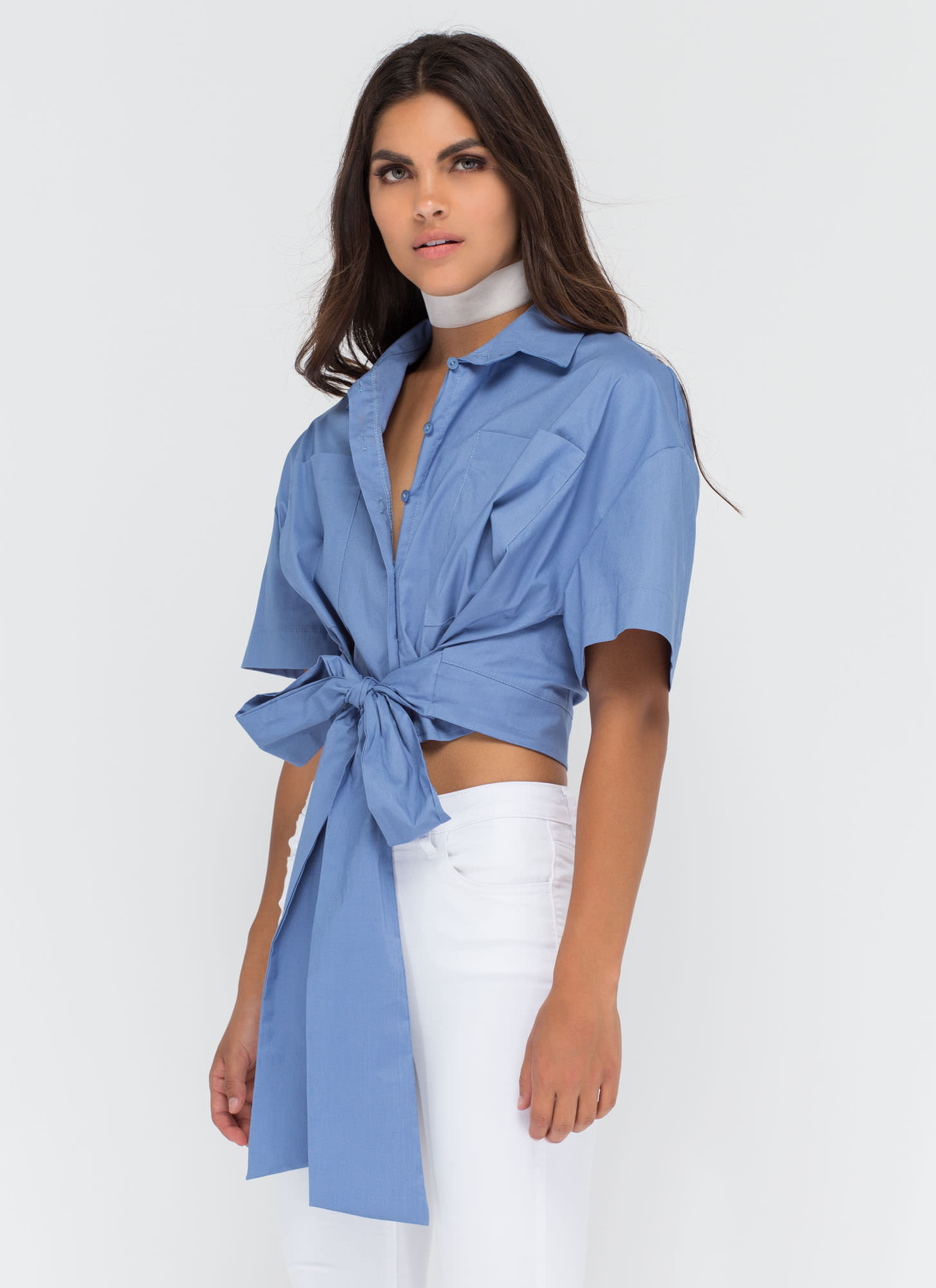 Tied With A Bow Boxy Button-Up Top BLUE