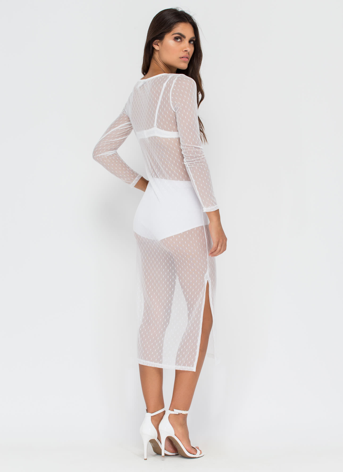 Spotted In My Sheer Mesh Midi Dress WHITE