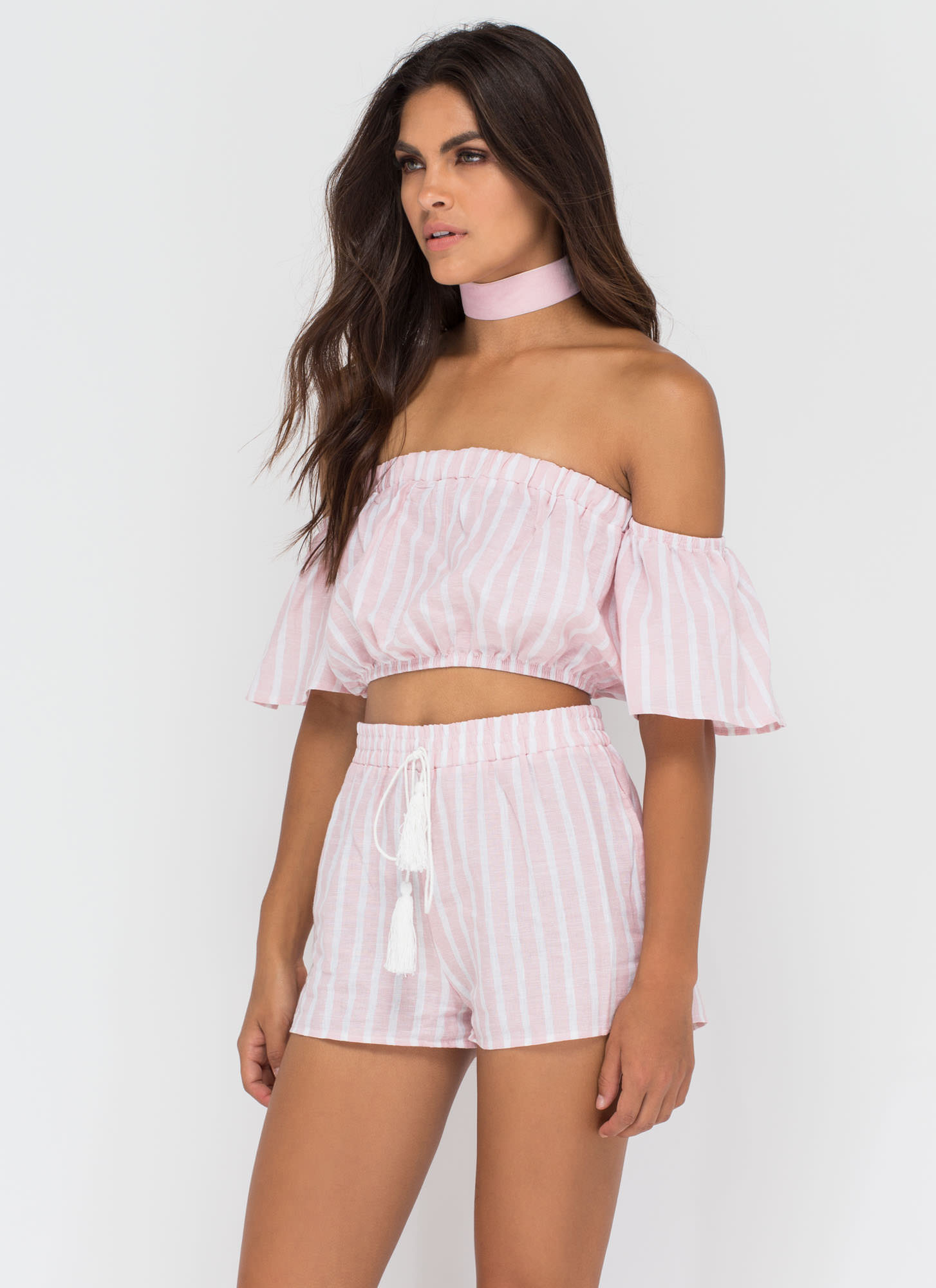 Cute Route Striped Shorts PINK