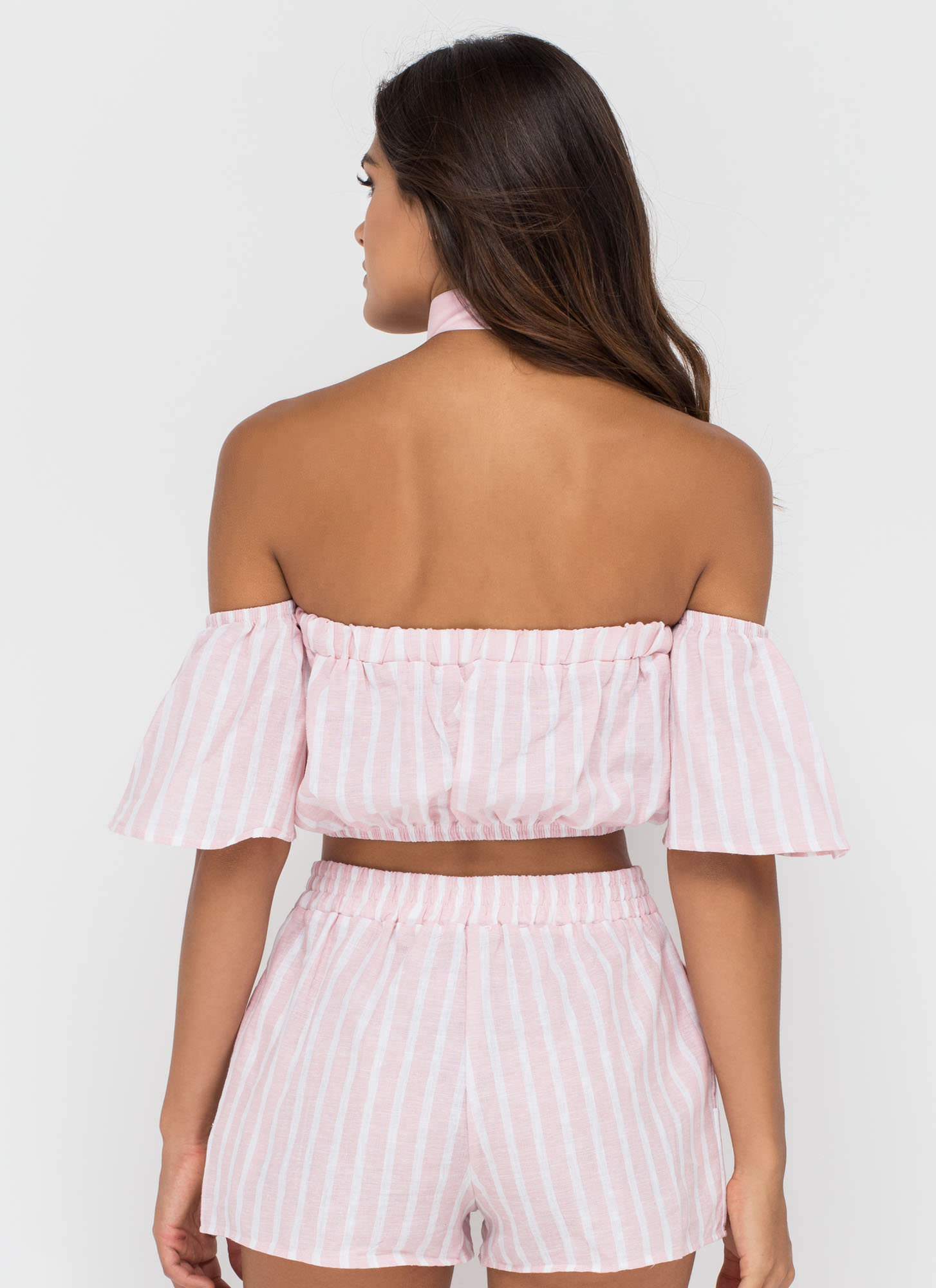 Cute Route Striped Off-Shoulder Blouse PINK