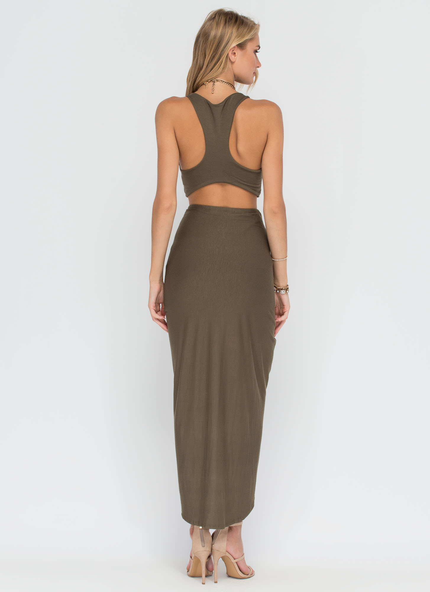 It Takes Two Draped Top 'N Skirt Set OLIVE