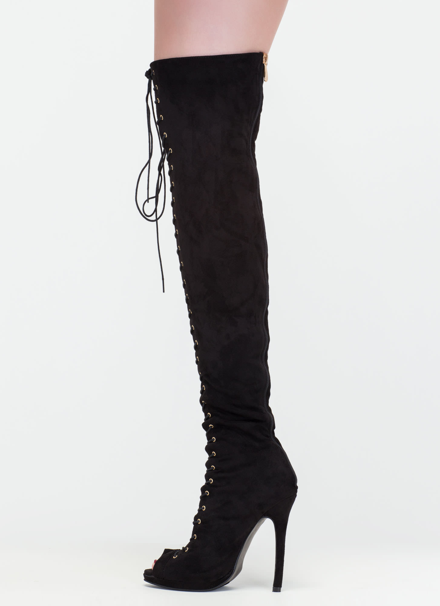 Revamp Faux Suede Over-The-Knee Boots BLACK