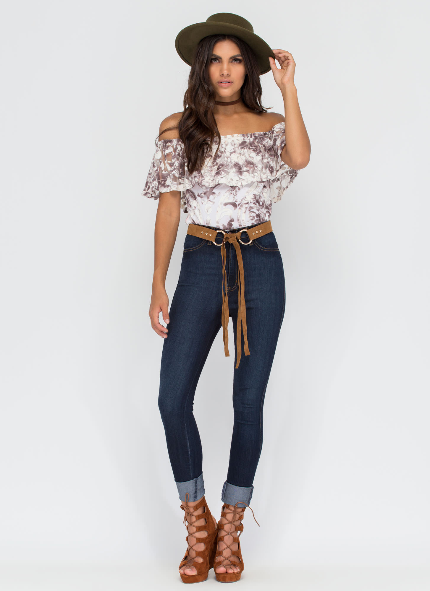 Give It A Swirl Ornate Off-Shoulder Top MULTI