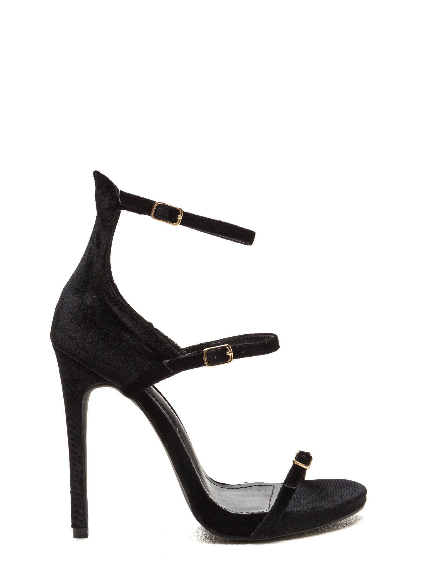 Luxurious Touch Strappy Velvet Heels BLACK